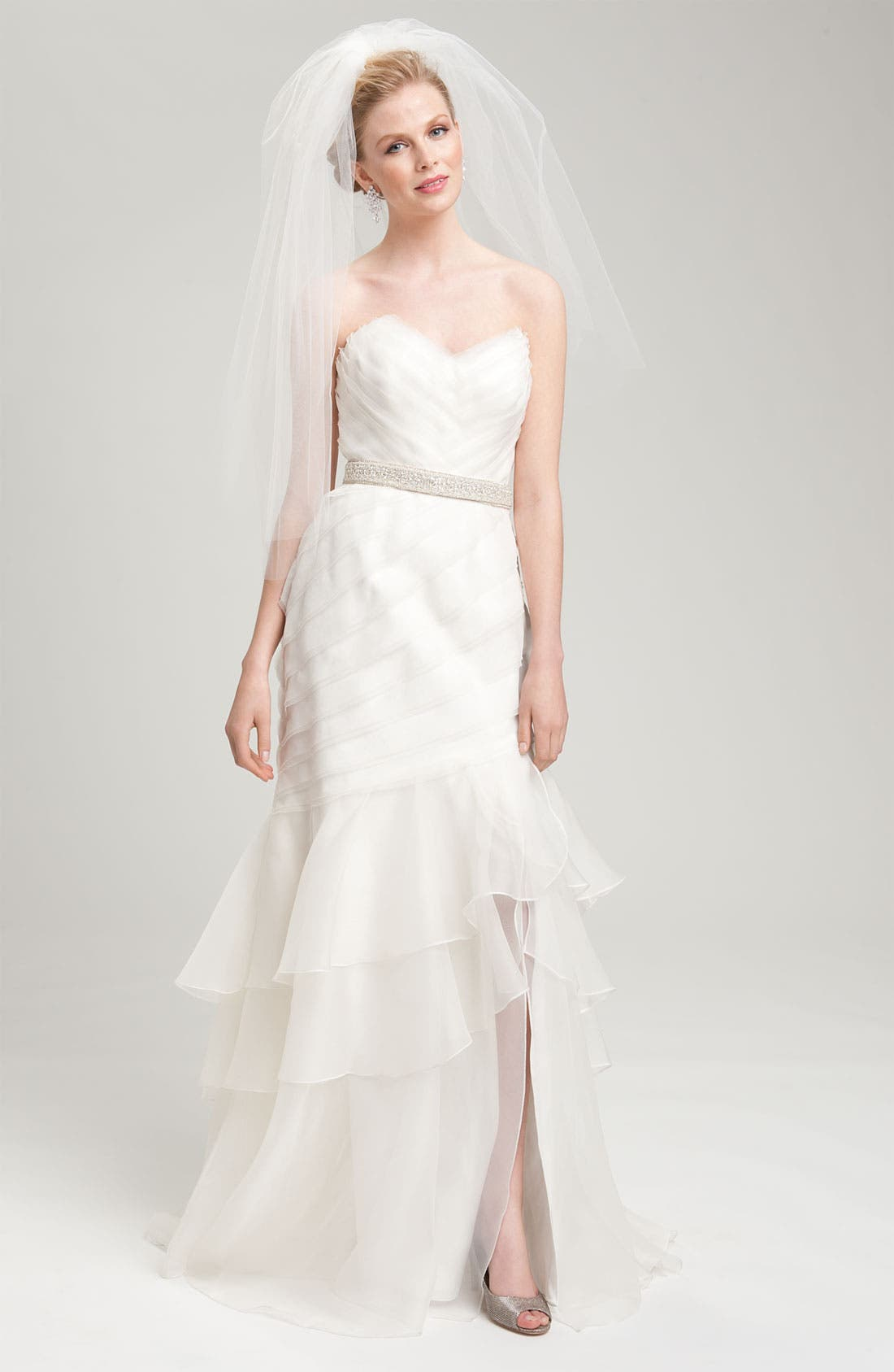 Alternate Image 3  - Theia Strapless Silk Organza Mermaid Gown