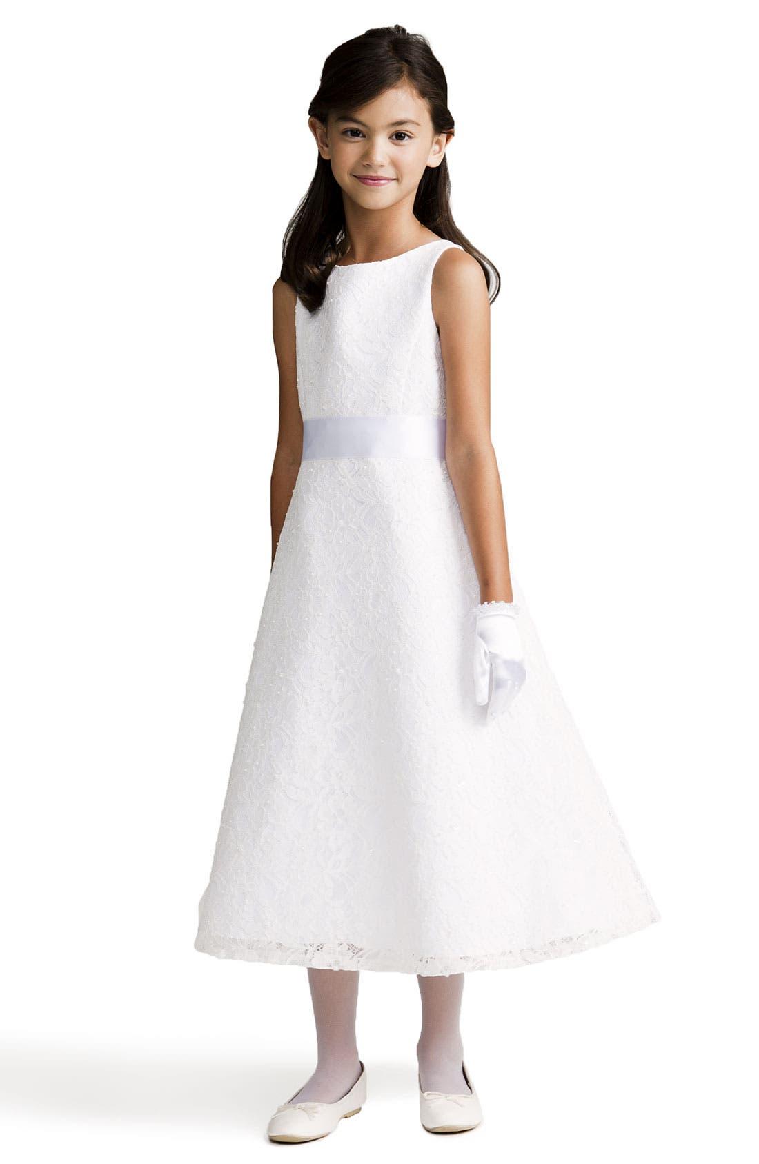 Main Image - Us Angels Beaded Lace Sleeveless Dress (Big Girls)