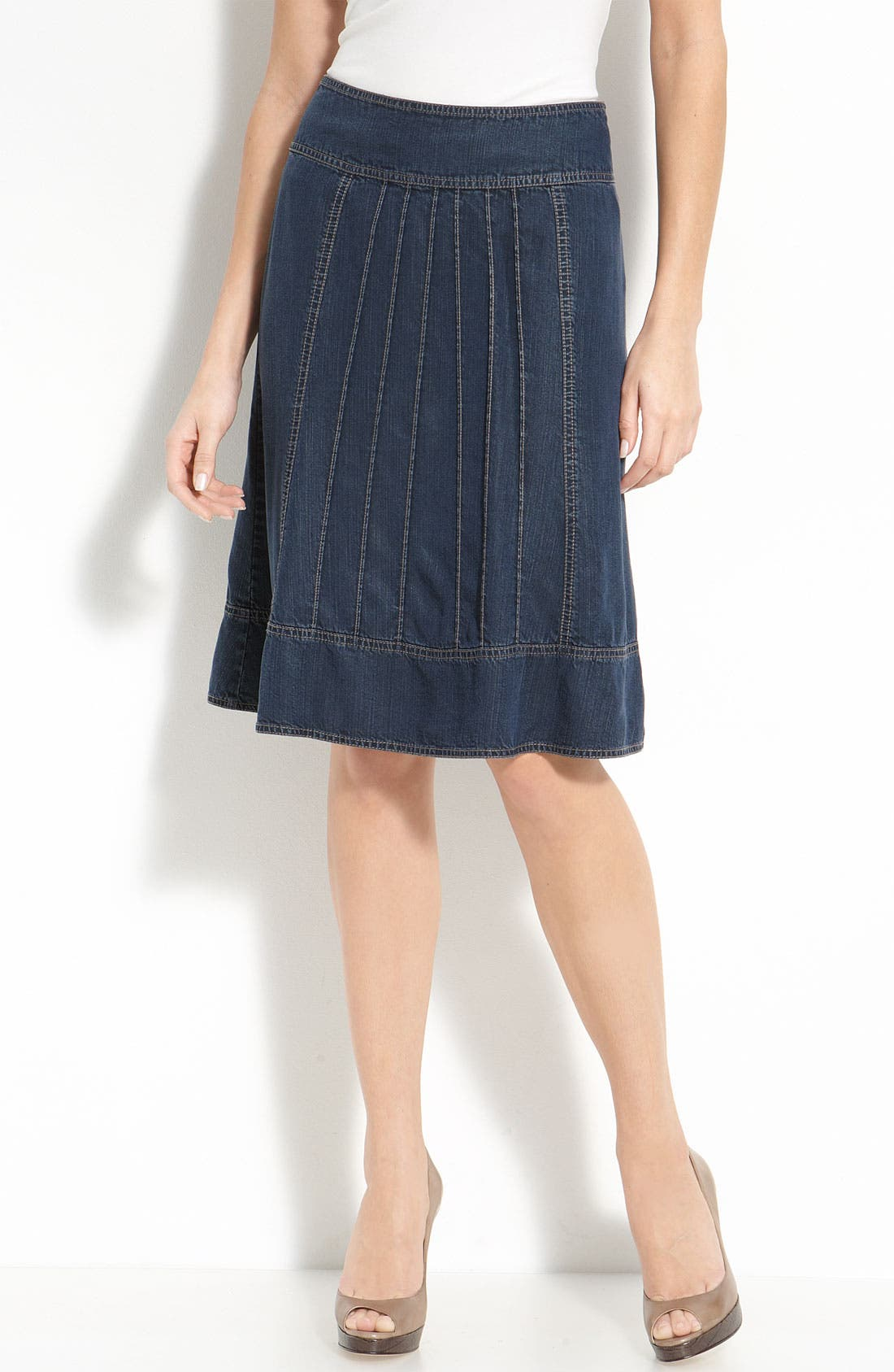 Alternate Image 1 Selected - Nic + Zoe Pintuck Pleat Denim Skirt (Petite)