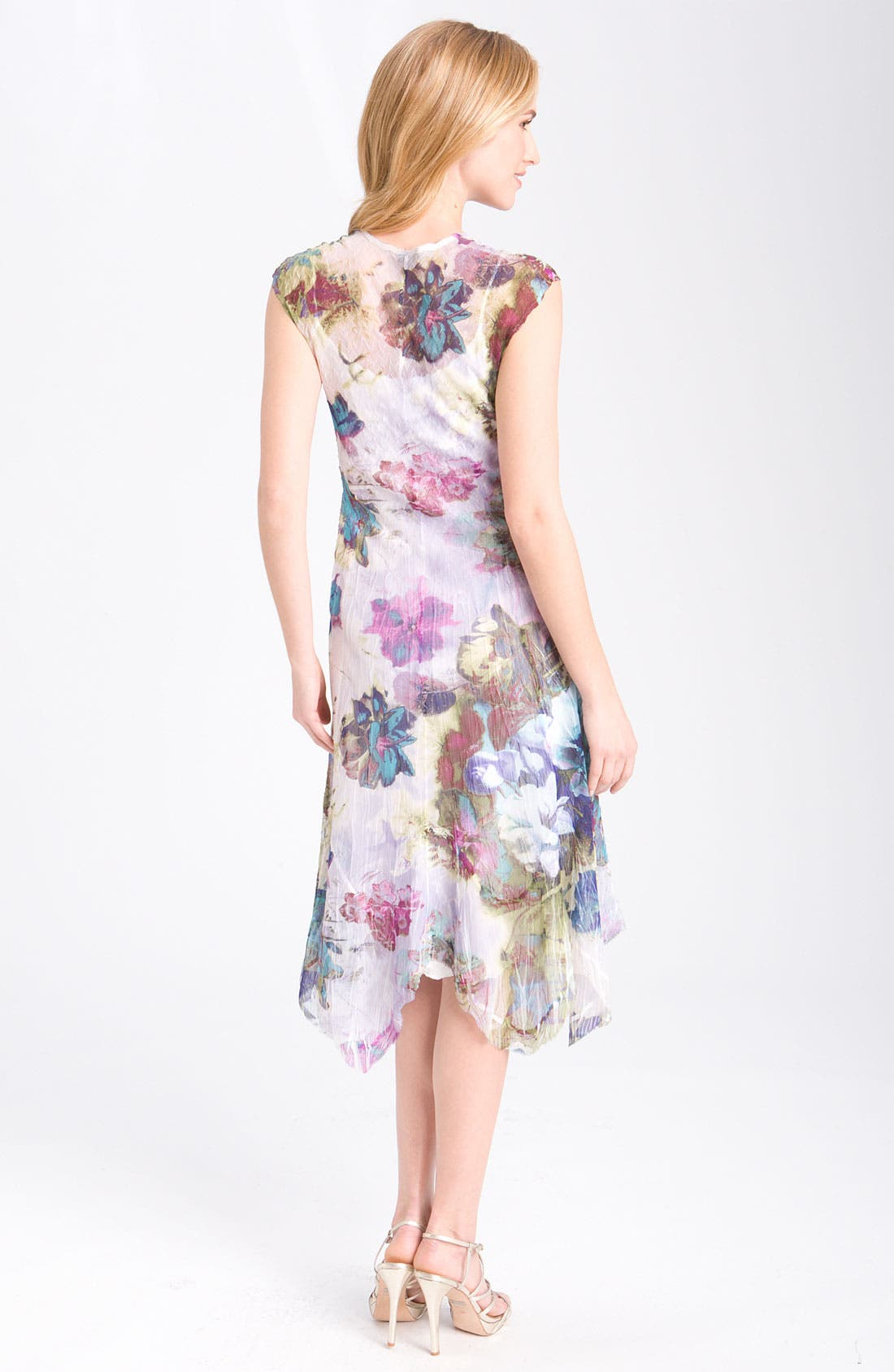 Alternate Image 2  - Komarov Floral Print Cap Sleeve Pleated Dress