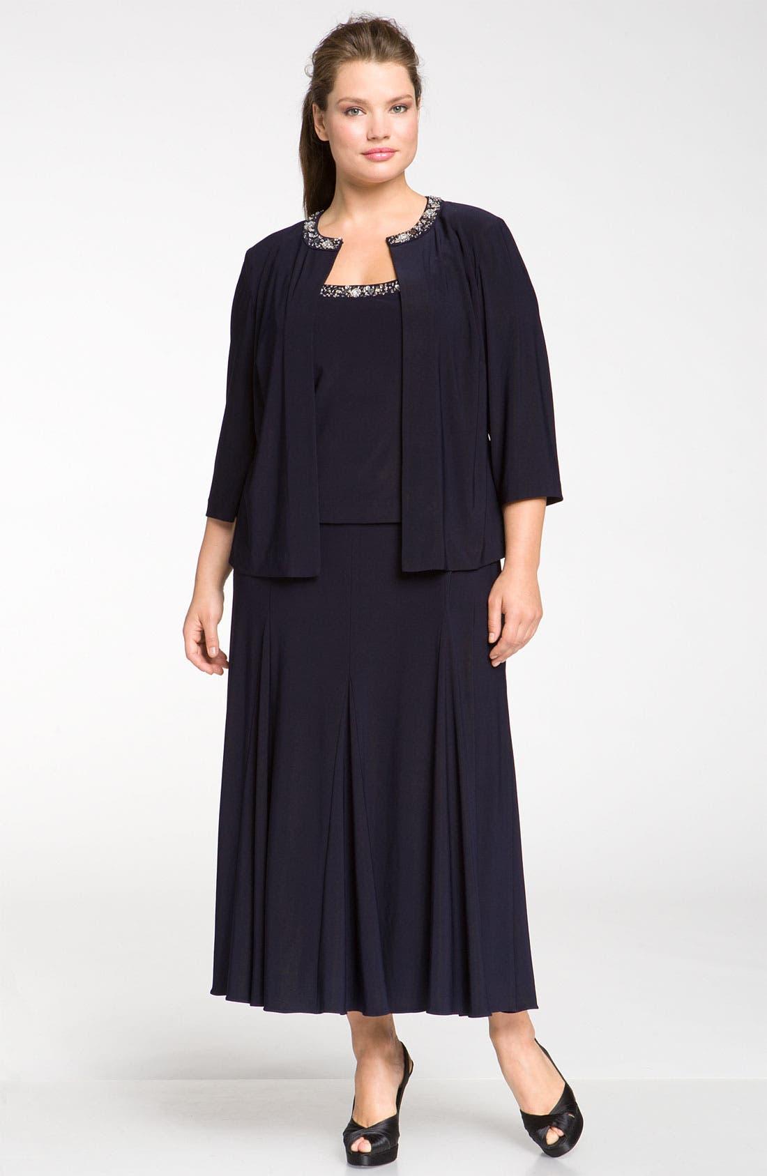 Main Image - Alex Evenings Beaded Dress & Jacket (Plus Size)
