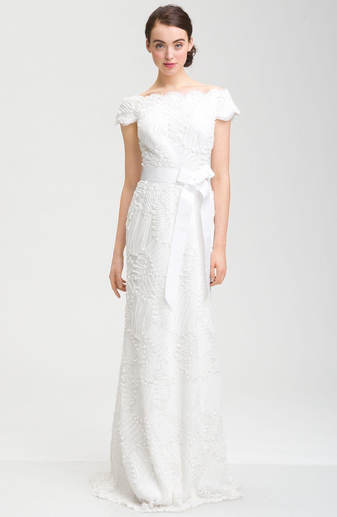 Main Image - Tadashi Shoji Cap Sleeve Bow Belt Dress