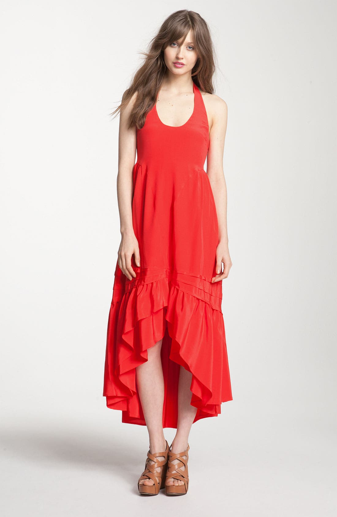 Main Image - Juicy Couture Asymmetrical Ruffle Silk Maxi Halter Dress