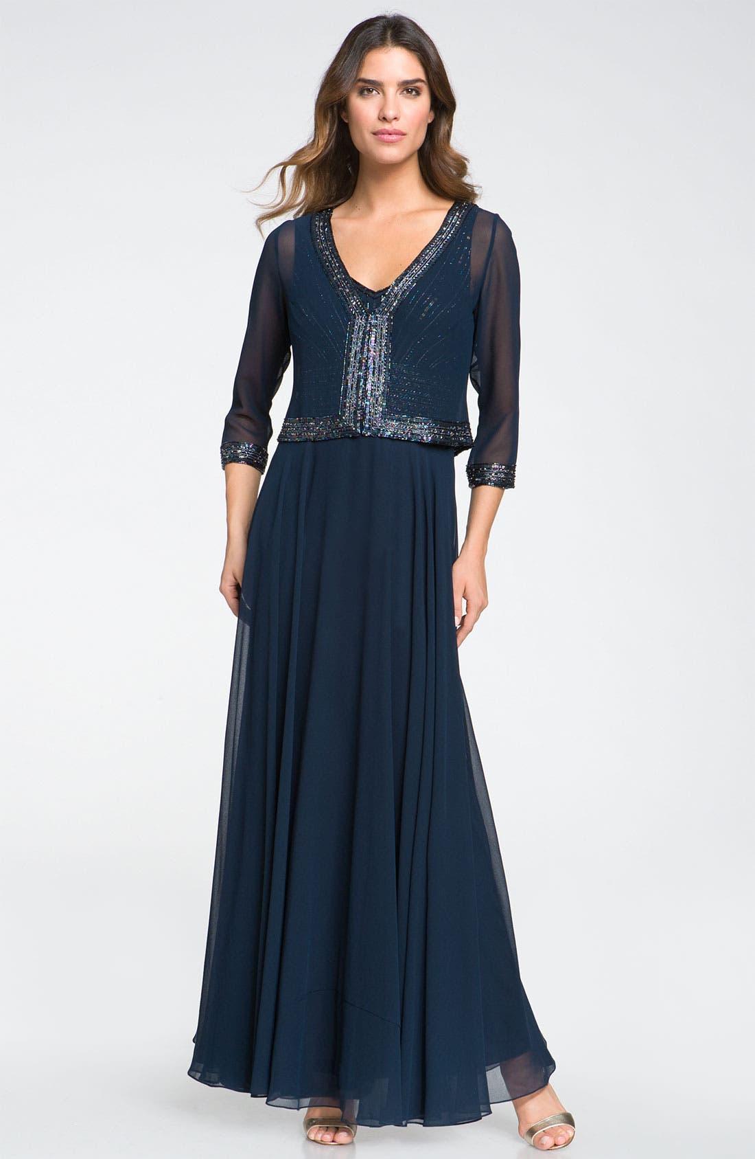 Alternate Image 1 Selected - J Kara Embellished Dress & Jacket