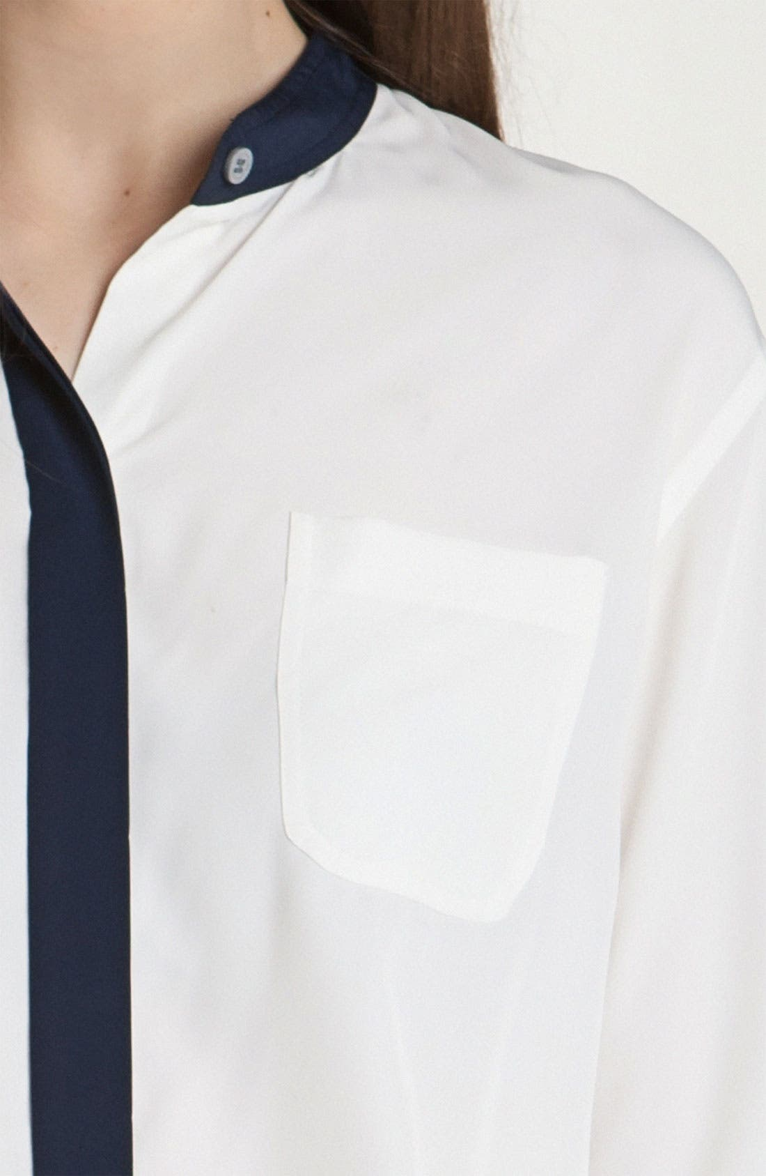 Alternate Image 3  - Vince Camuto Stand Collar Shirt with Contrast Trim (Petite)