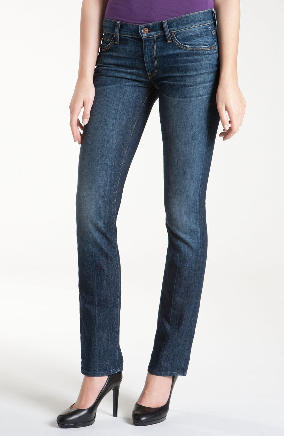 Alternate Image 1  - 7 For All Mankind® Straight Leg Jeans (Nouveau New York Dark)