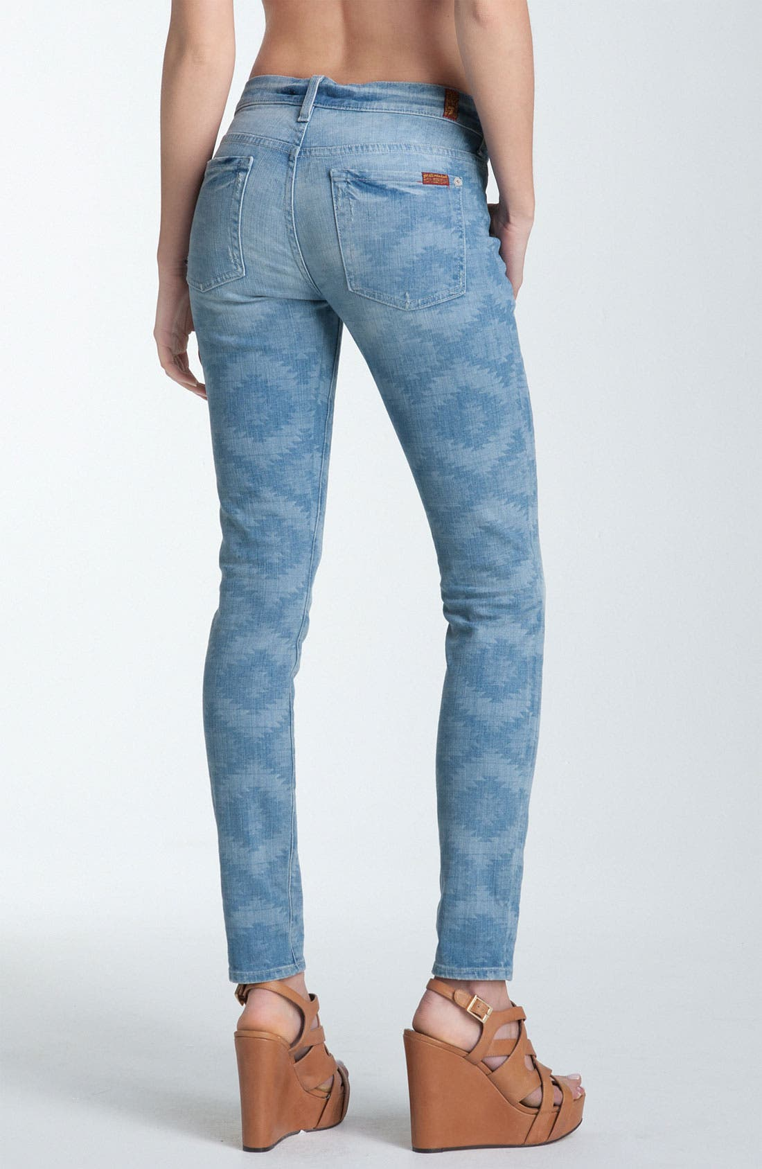 Main Image - 7 For All Mankind® 'The Skinny' Print Jeans (Ancient Pyramid Laser)