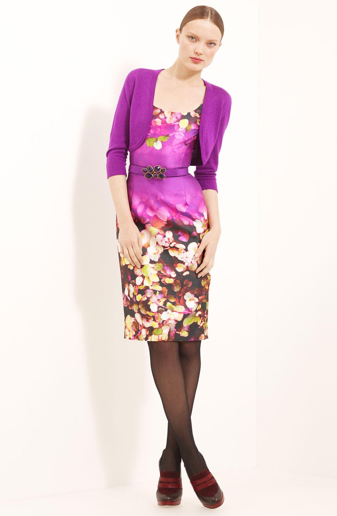 Alternate Image 4  - Oscar de la Renta Leaf Print Silk & Cotton Dress