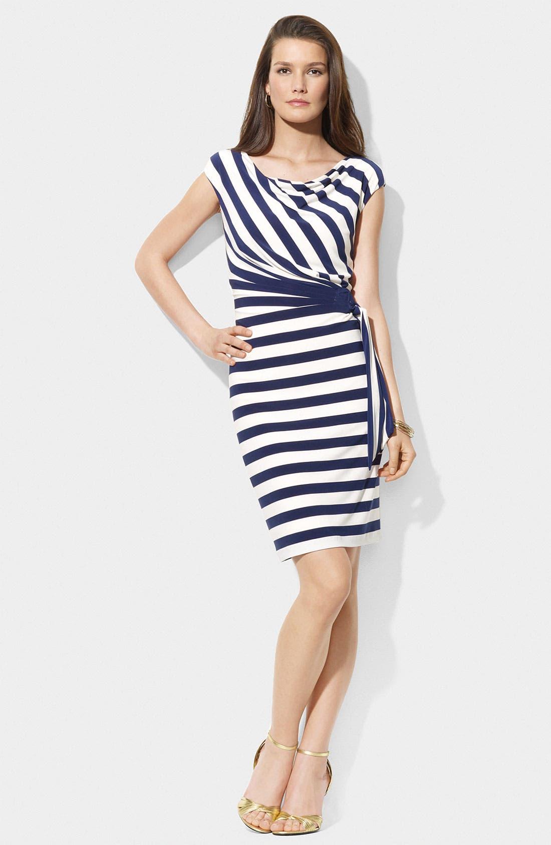 Main Image - Lauren Ralph Lauren Stripe Side Tie Jersey Sheath Dress