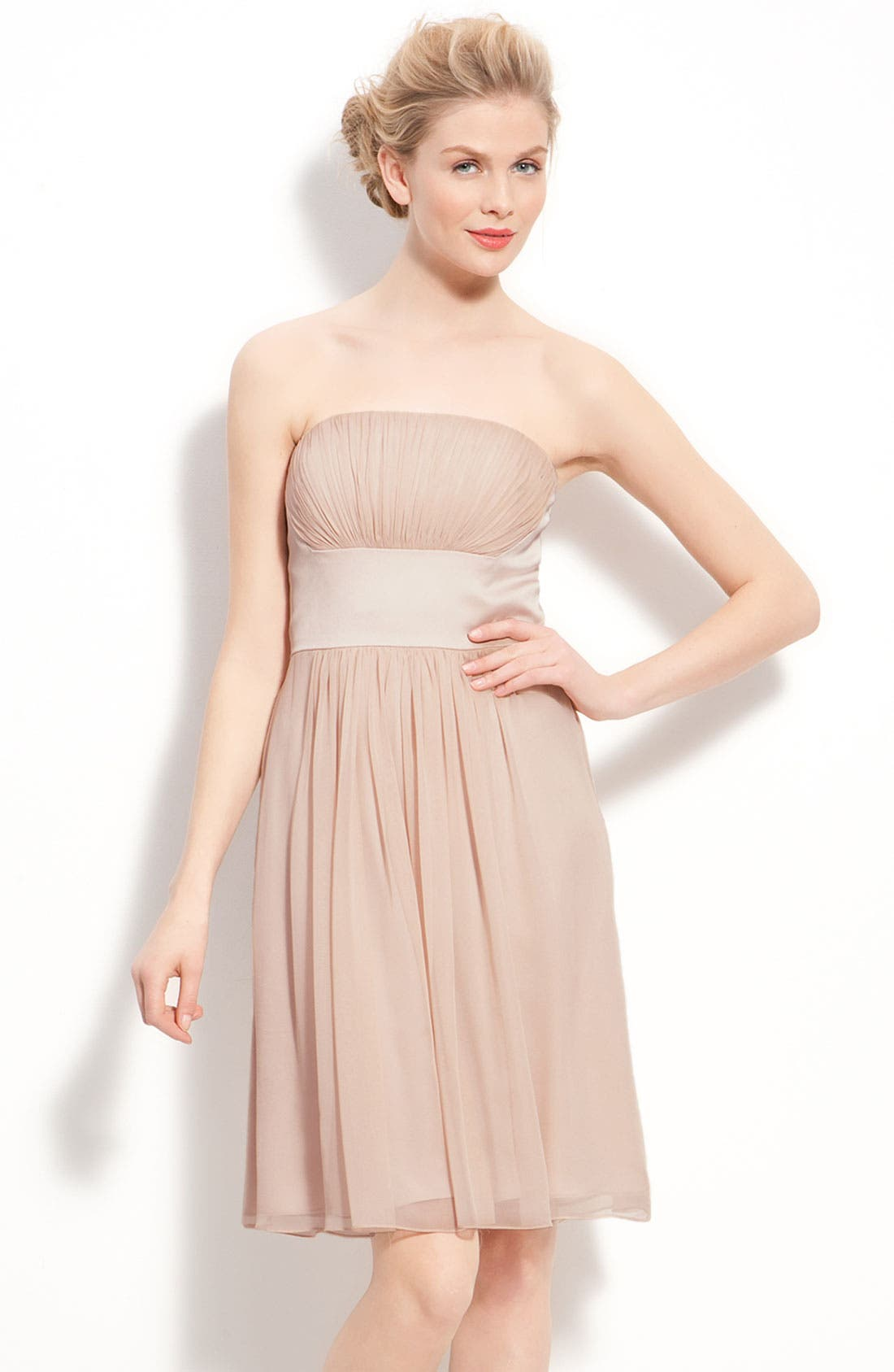 Alternate Image 1 Selected - Donna Morgan Strapless Chiffon & Satin Dress