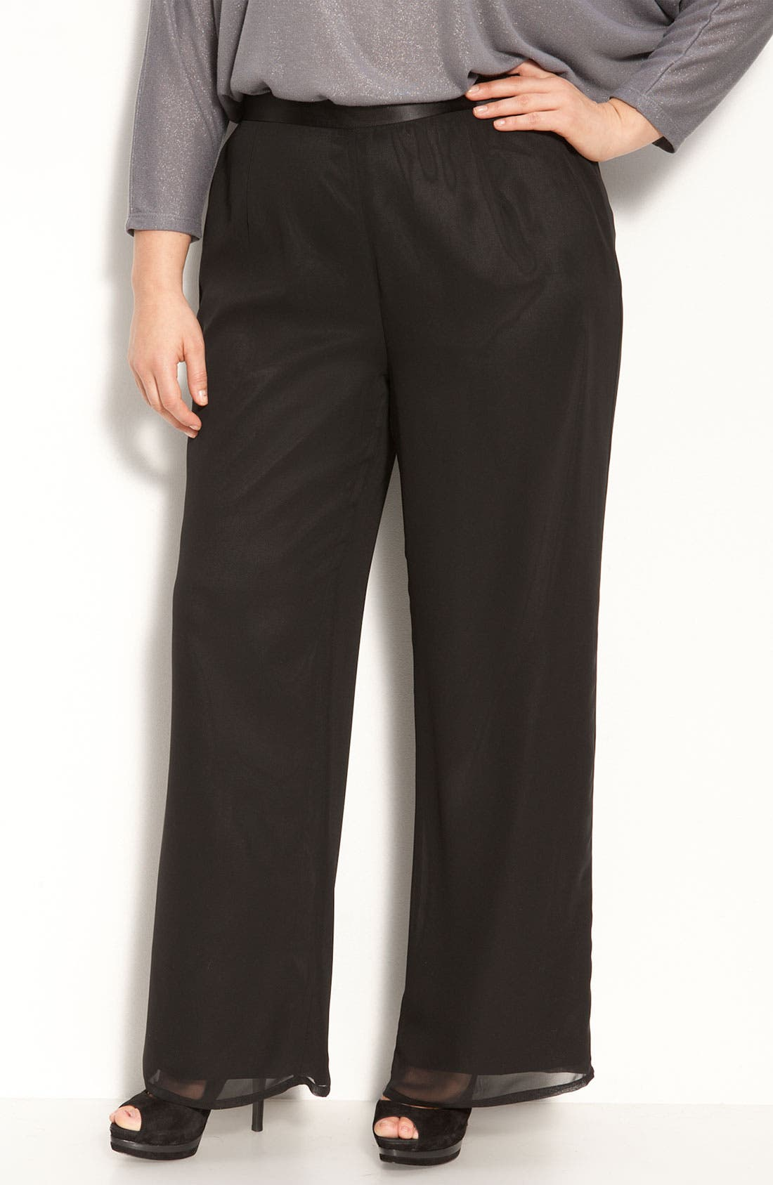Alternate Image 1 Selected - Adrianna Papell Chiffon Pants (Plus)