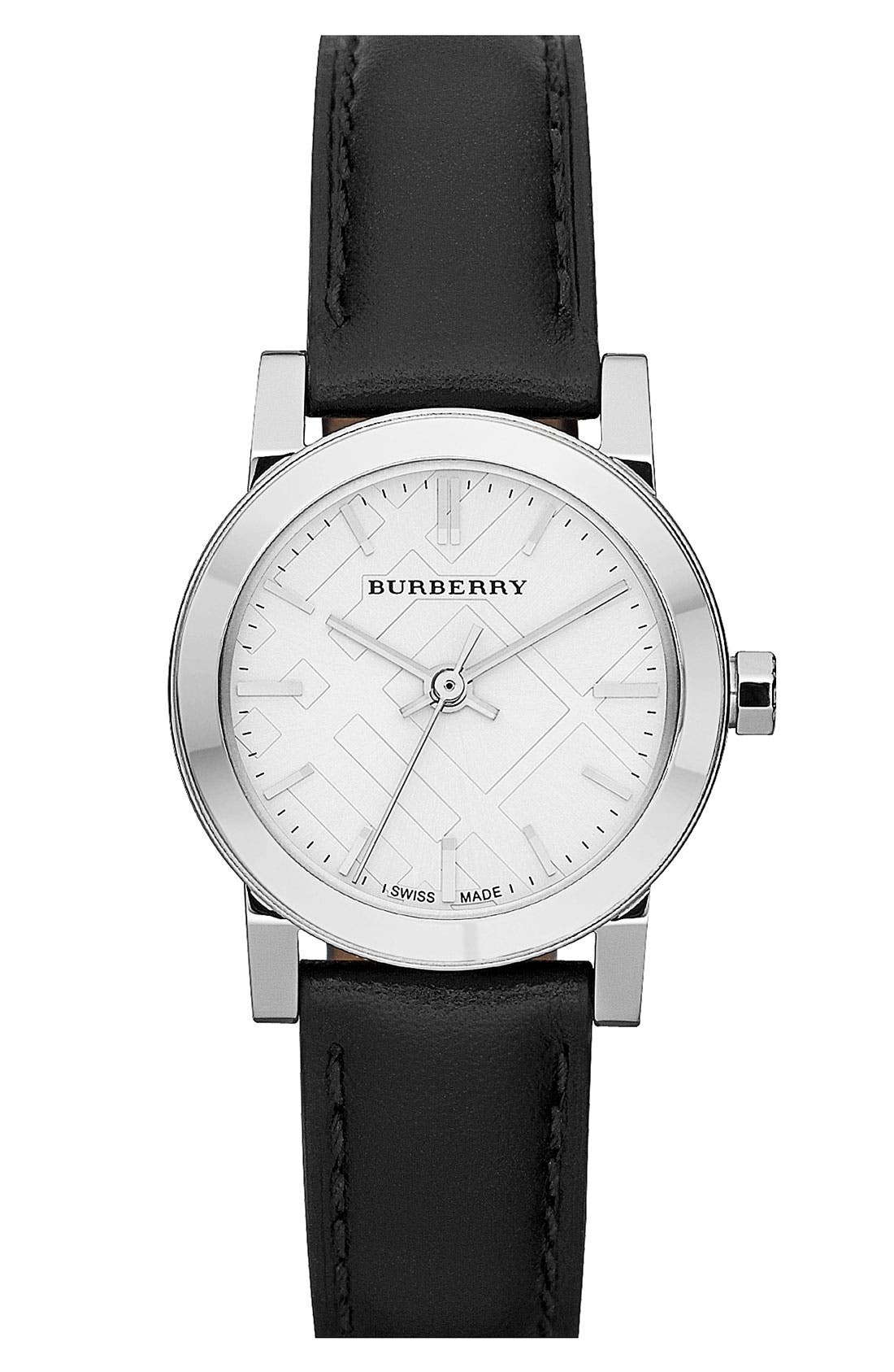 Alternate Image 1 Selected - Burberry Small Check Stamped Round Dial Watch