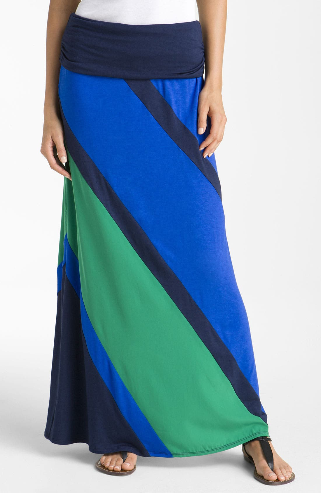 Main Image - Olivia Moon Colorblock Maxi Skirt