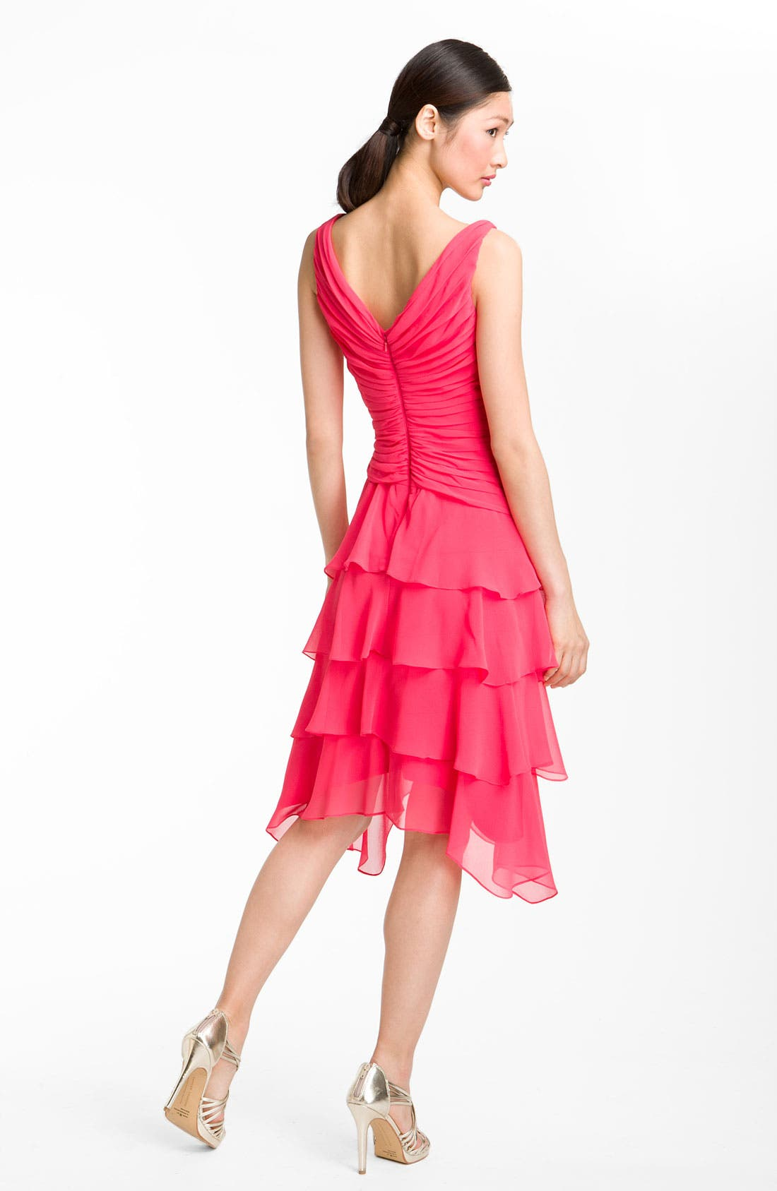 Alternate Image 2  - T by Tadashi V-Neck Tiered Ruffle Skirt Chiffon Dress