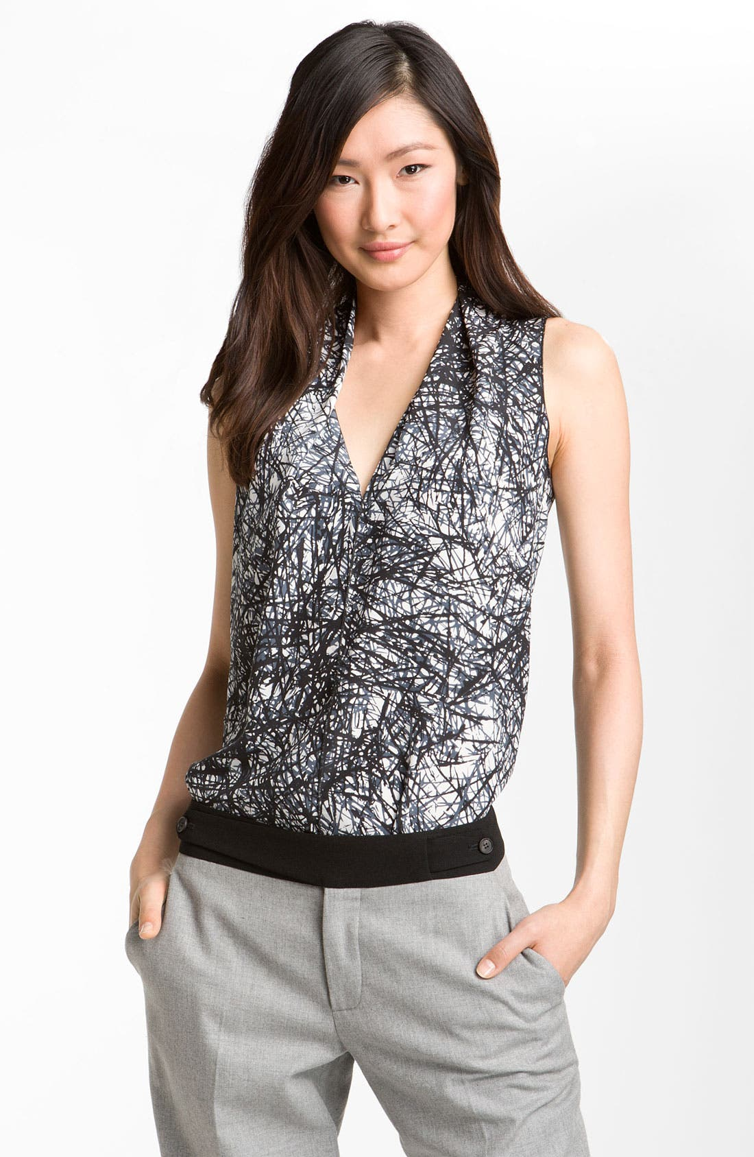 Alternate Image 1 Selected - Rachel Roy Abstract Print Silk Top