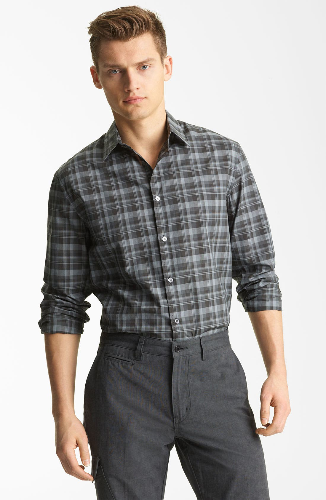 Main Image - John Varvatos Collection Pickstitch Plaid Woven Shirt