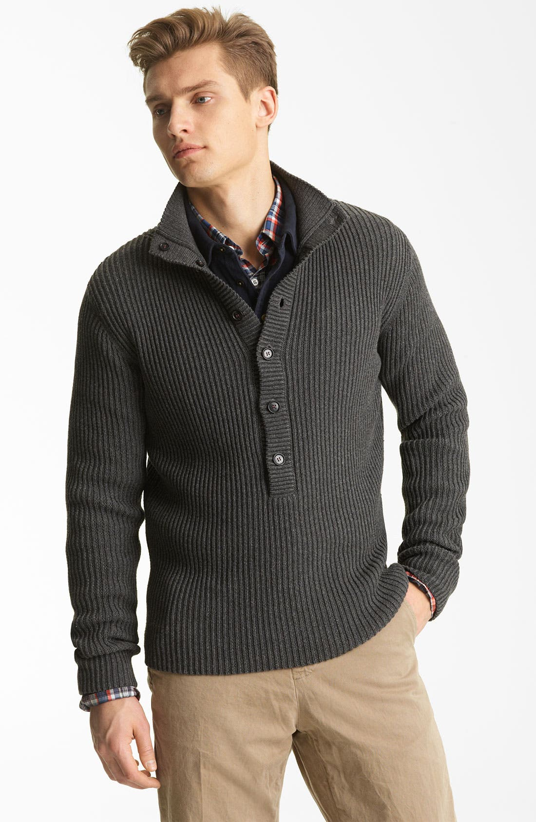 Main Image - Billy Reid Ribbed Henley Sweater