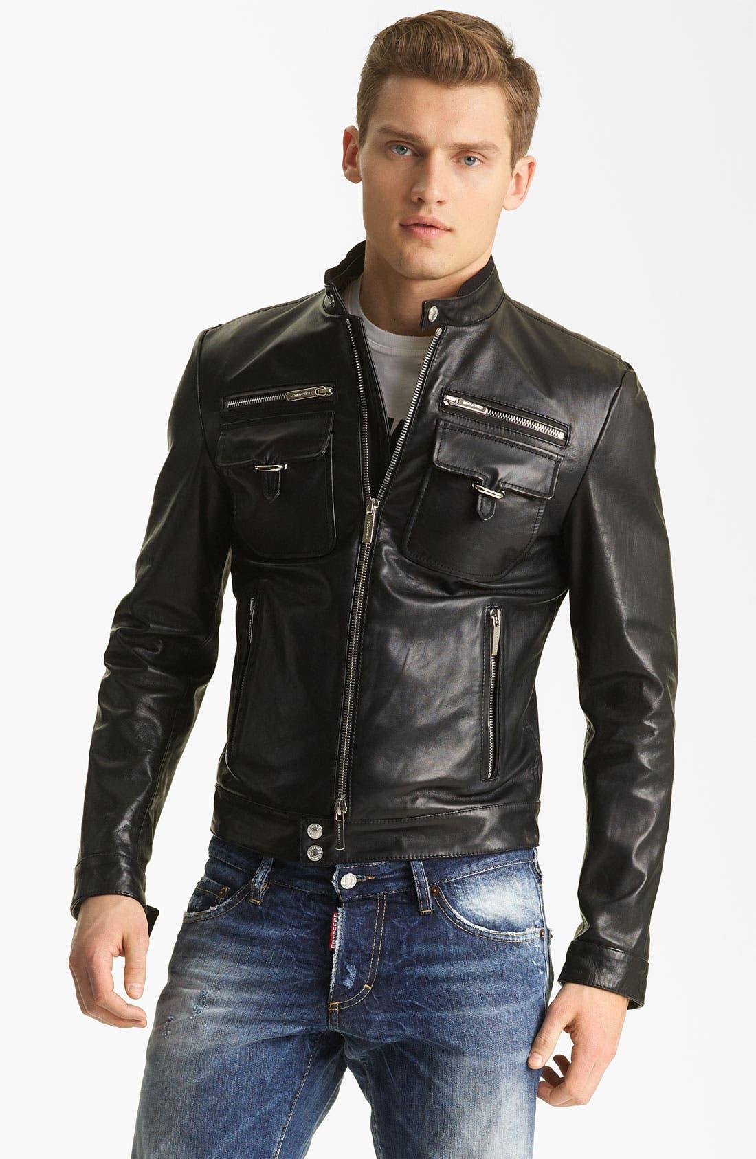 Alternate Image 1 Selected - Dsquared2 'Chic' Leather Moto Jacket