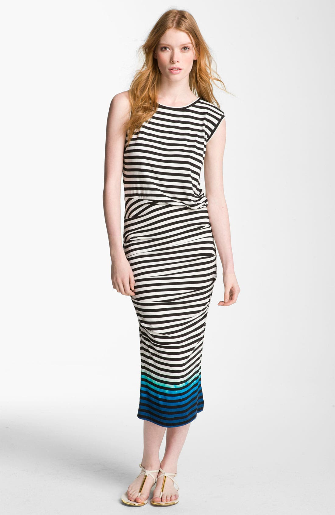 Main Image - Nicole Miller Asymmetrical Ruched Midi Dress