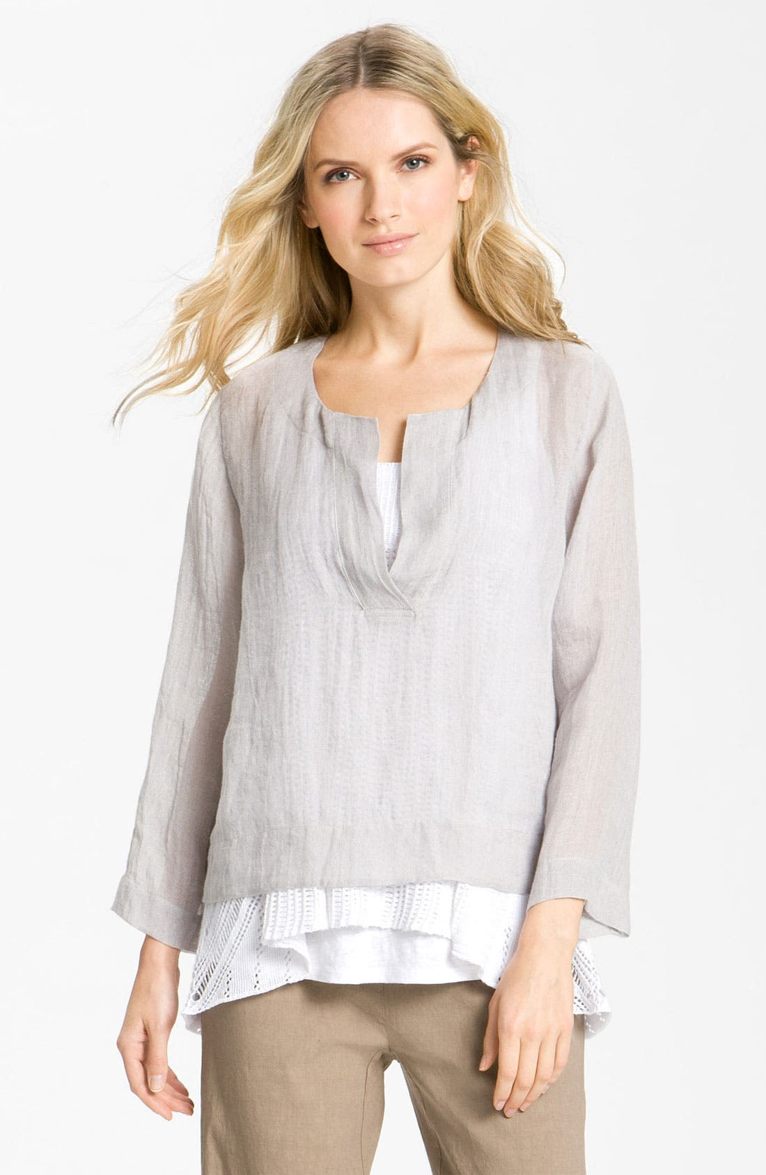 Alternate Image 1 Selected - Eileen Fisher Linen Gauze Tunic