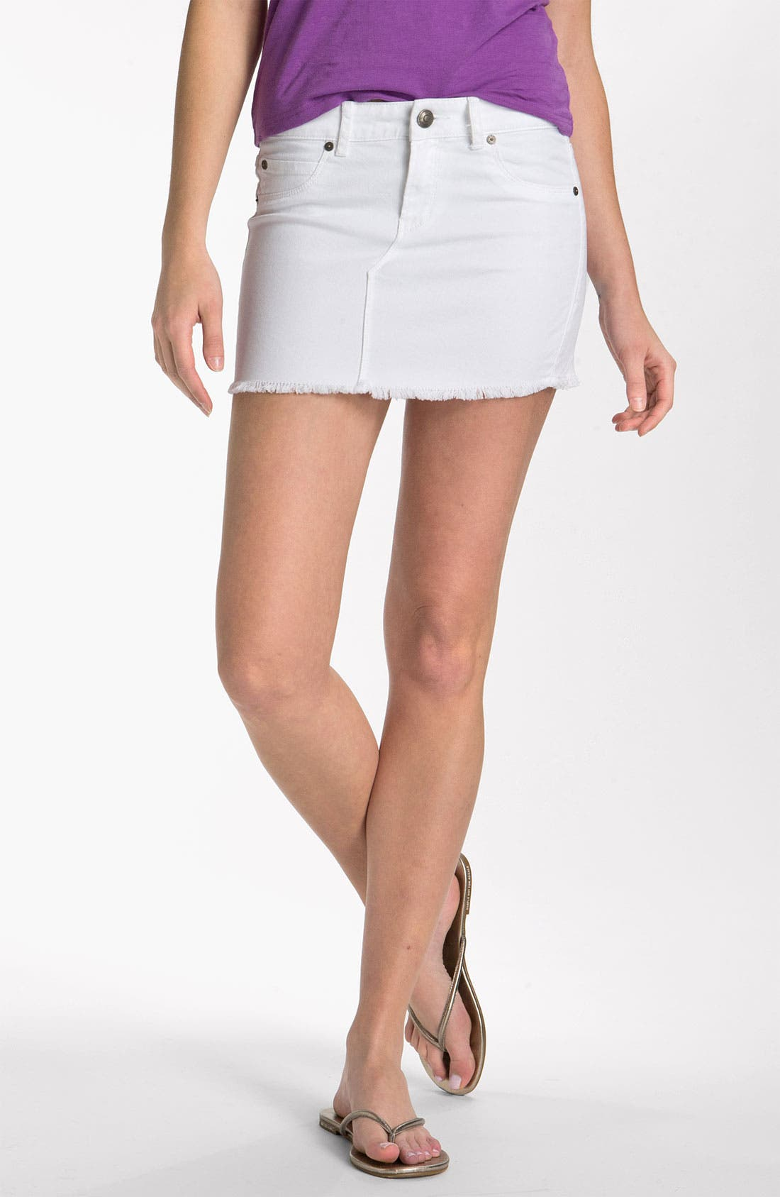 Main Image - Articles of Society 'Stella' Cutoff Denim Miniskirt (Juniors)