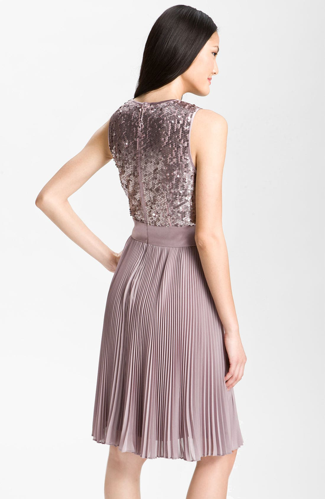 Alternate Image 2  - Eliza J Sequin Bodice Pleated Chiffon Dress