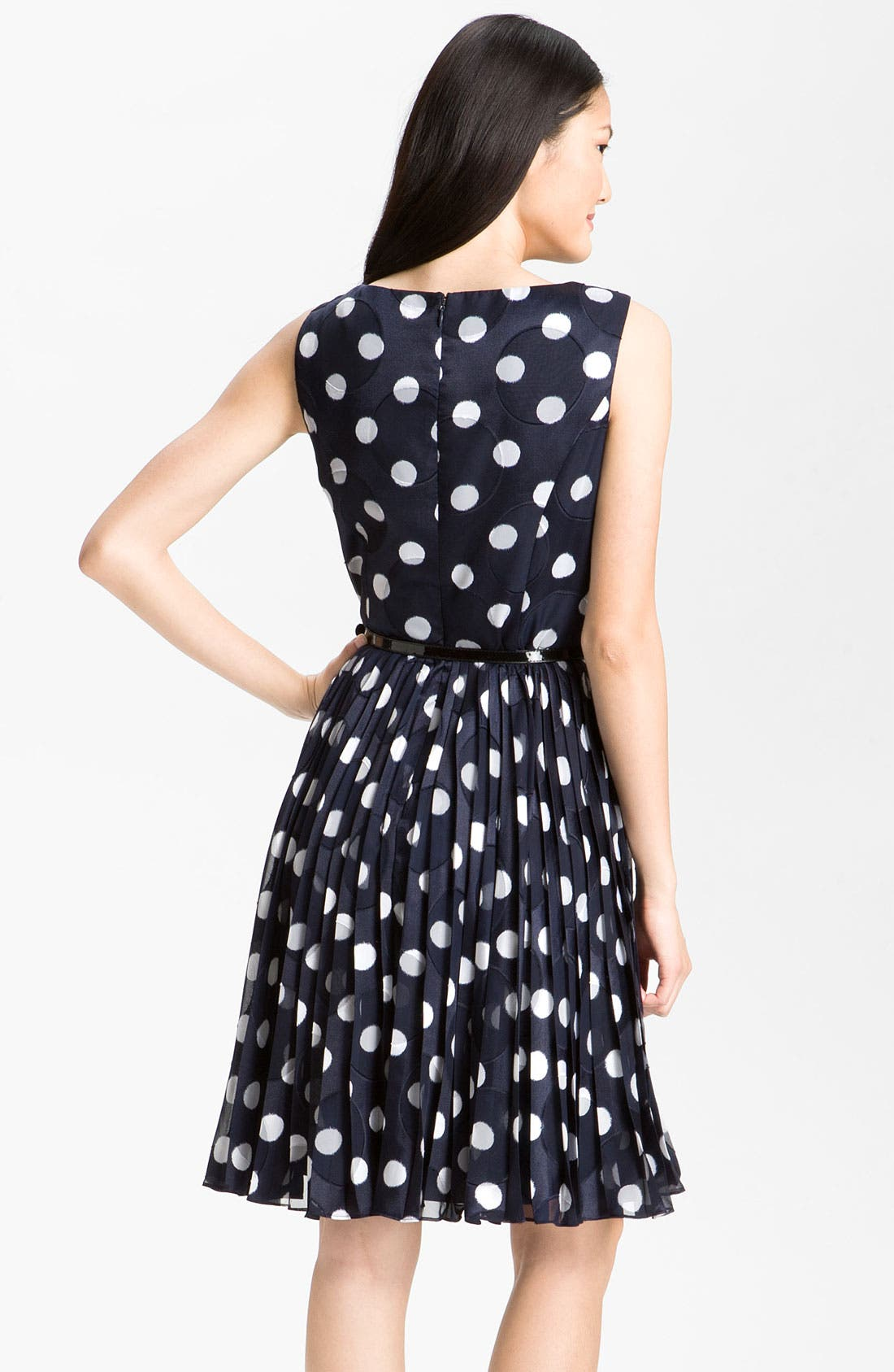 Alternate Image 2  - Adrianna Papell Pleated Burn Out Dot Fit & Flare Dress