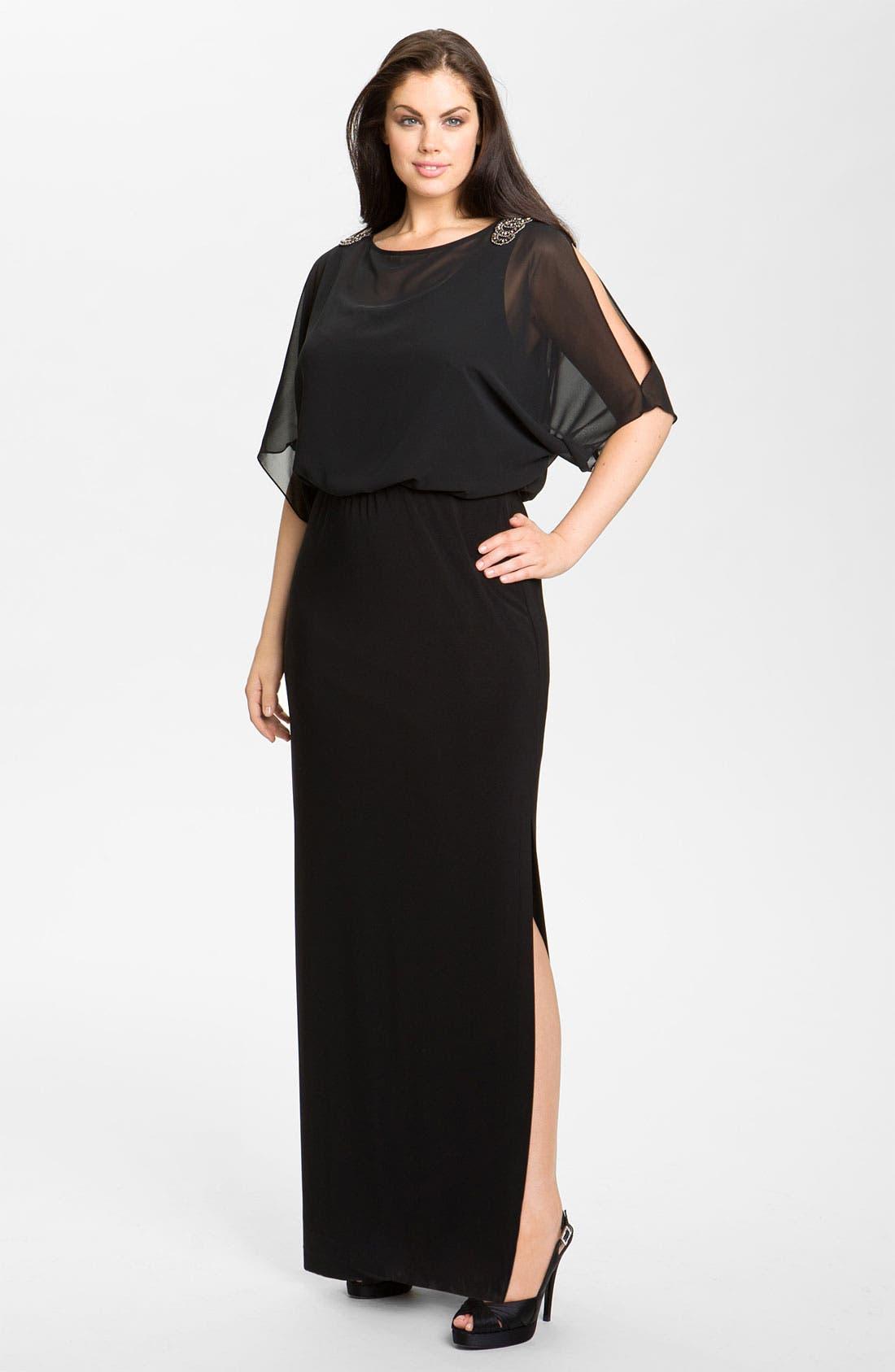 Alternate Image 1 Selected - Xscape Embellished Blouson Bodice Jersey Dress (Plus Size)