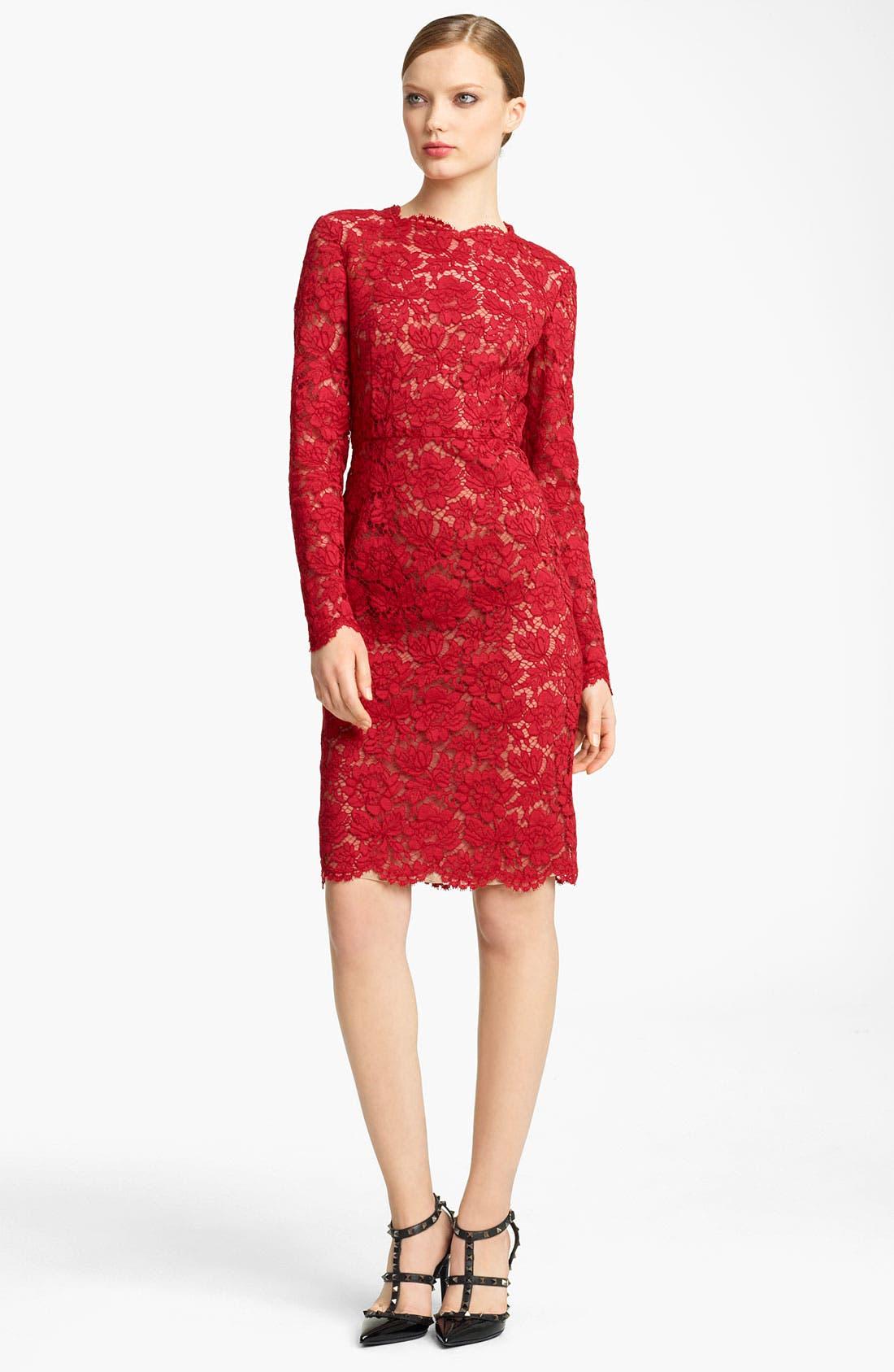 Main Image - Valentino Bow Detail Lace Sheath Dress