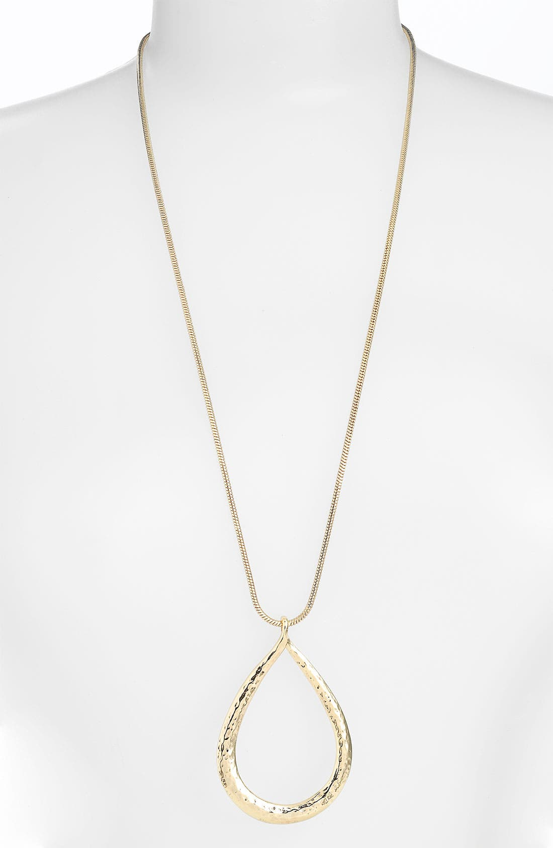 Alternate Image 1 Selected - Nordstrom Long Hammered Teardrop Pendant Necklace
