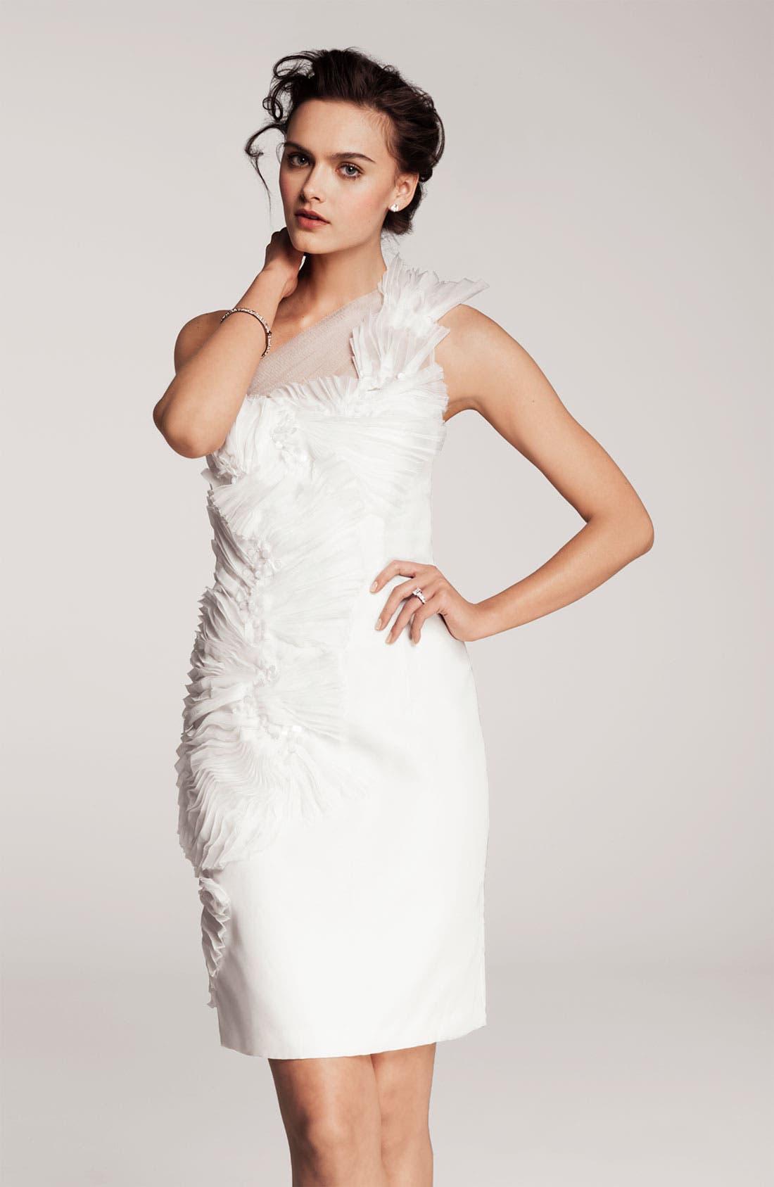 Alternate Image 4  - Kathy Hilton One Shoulder Tulle Overlay Dress