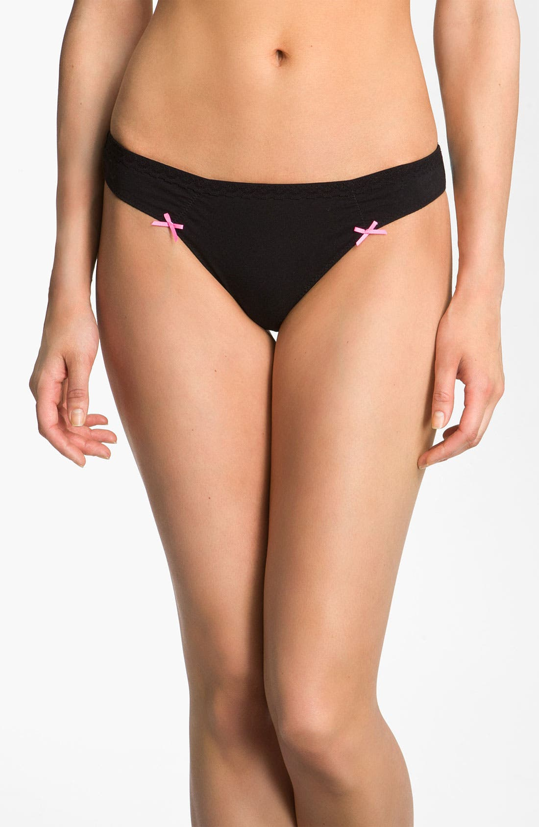 Main Image - Betsey Johnson Low Rise Stretch Cotton Thong