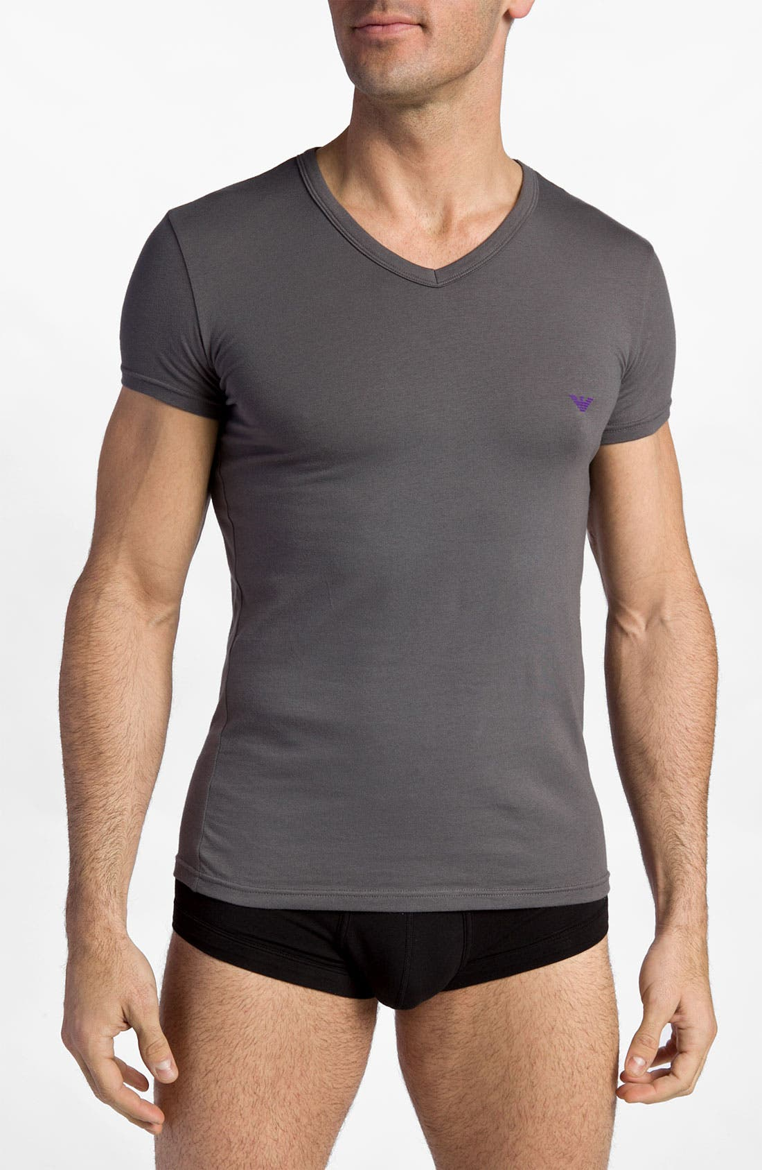 Alternate Image 1 Selected - Emporio Armani Stretch Cotton V-Neck T-Shirt