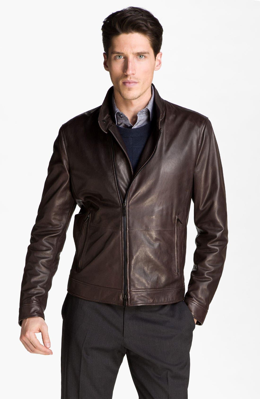 Alternate Image 1 Selected - Armani Collezioni Asymmetrical Zip Leather Jacket