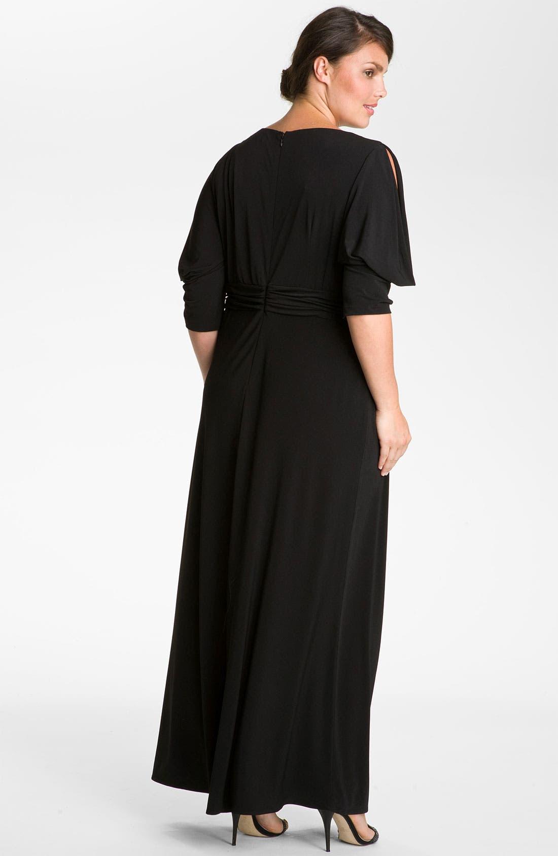 Alternate Image 2  - Eliza J Embellished Matte Jersey Surplice Dress (Plus)