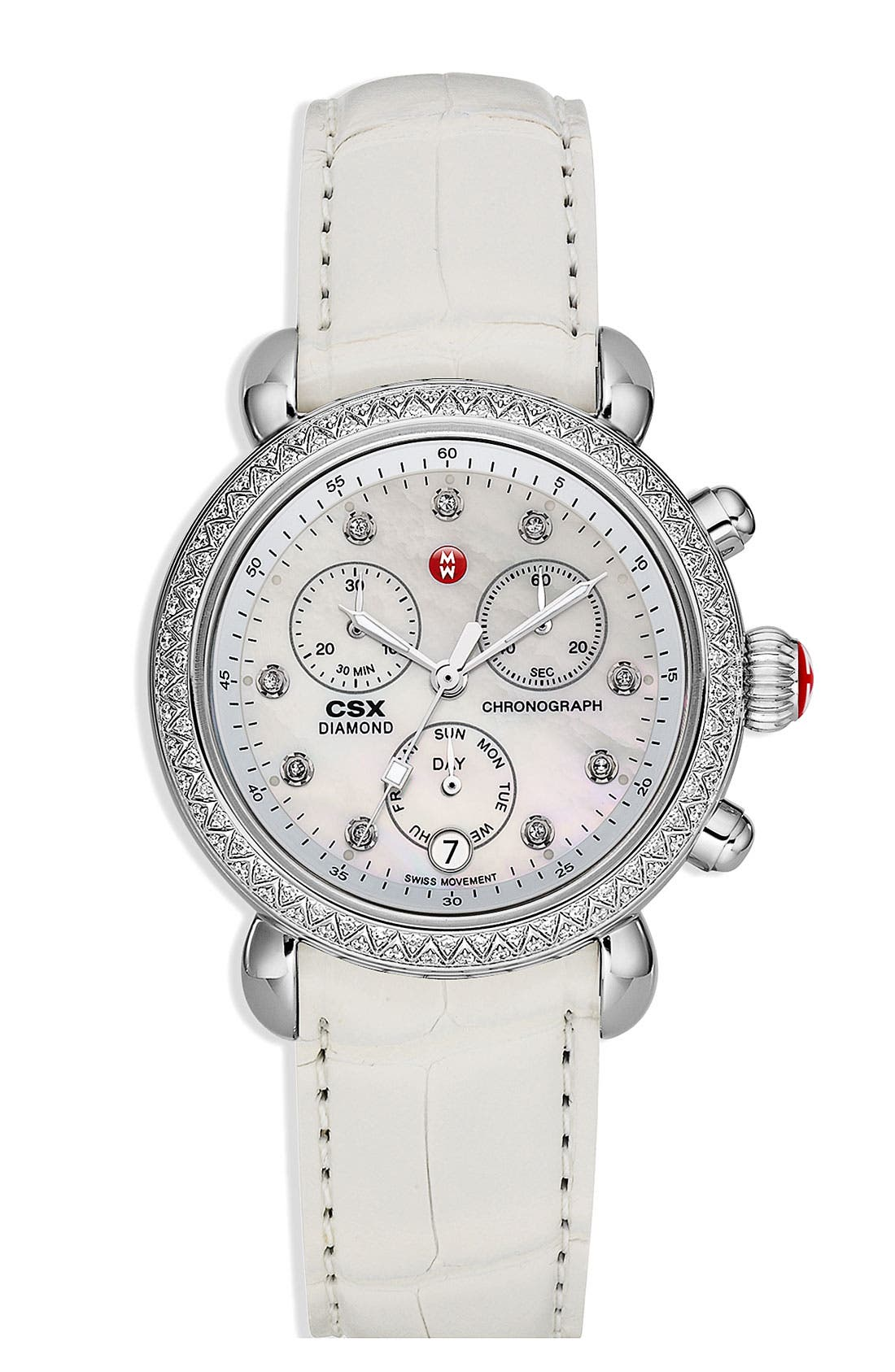Alternate Image 4  - MICHELE 'CSX-36 Diamond' Diamond Dial Two Tone Watch Case, 36mm