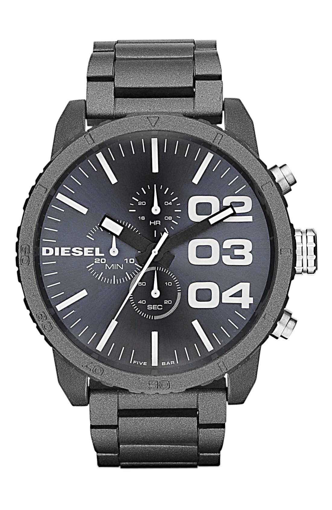 Alternate Image 1 Selected - DIESEL® 'Double Down' Oversized Chronograph Bracelet Watch, 52mm