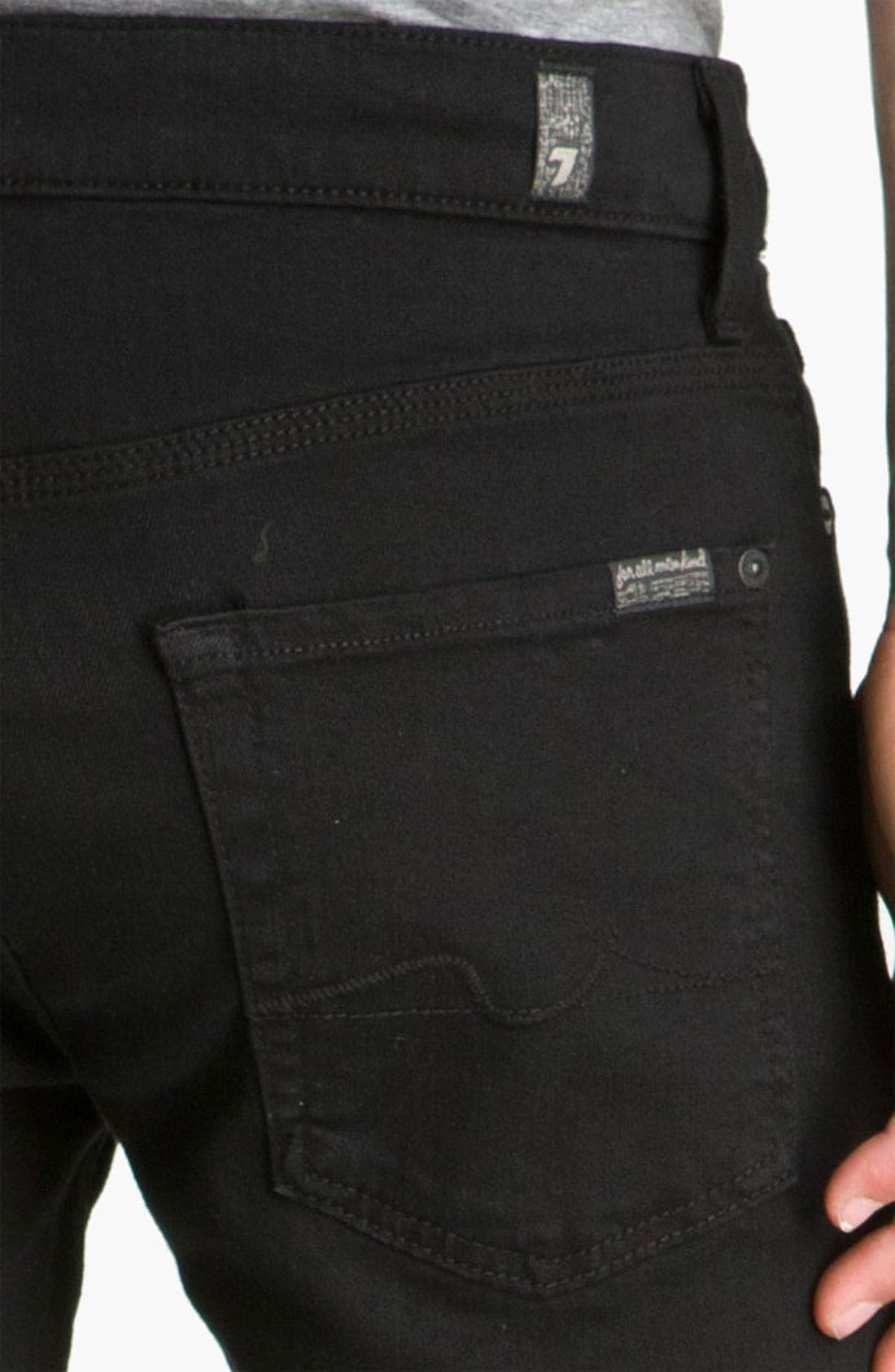 Alternate Image 4  - 7 For All Mankind® 'Slimmy' Slim Fit Jeans (Black Out)