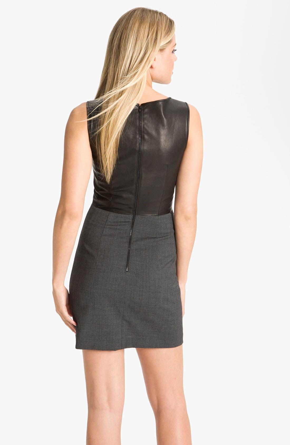Alternate Image 2  - Theory 'Tirionne C. - Majestrate' Leather & Wool Sheath Dress
