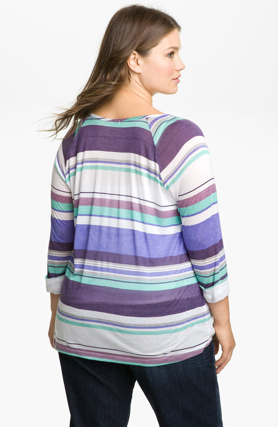 Alternate Image 2  - Splendid Stripe Henley Tee (Plus)
