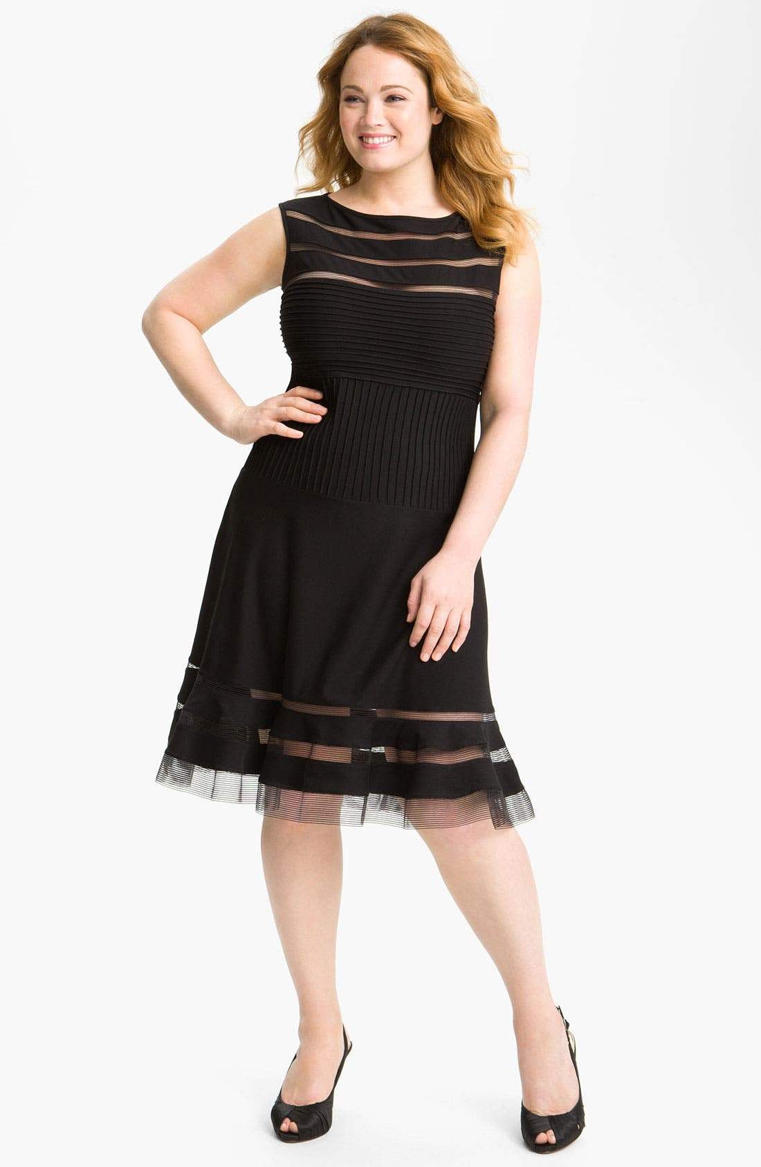 Main Image - Tadashi Shoji Sleeveless Mesh Stripe Jersey Dress (Plus Size)