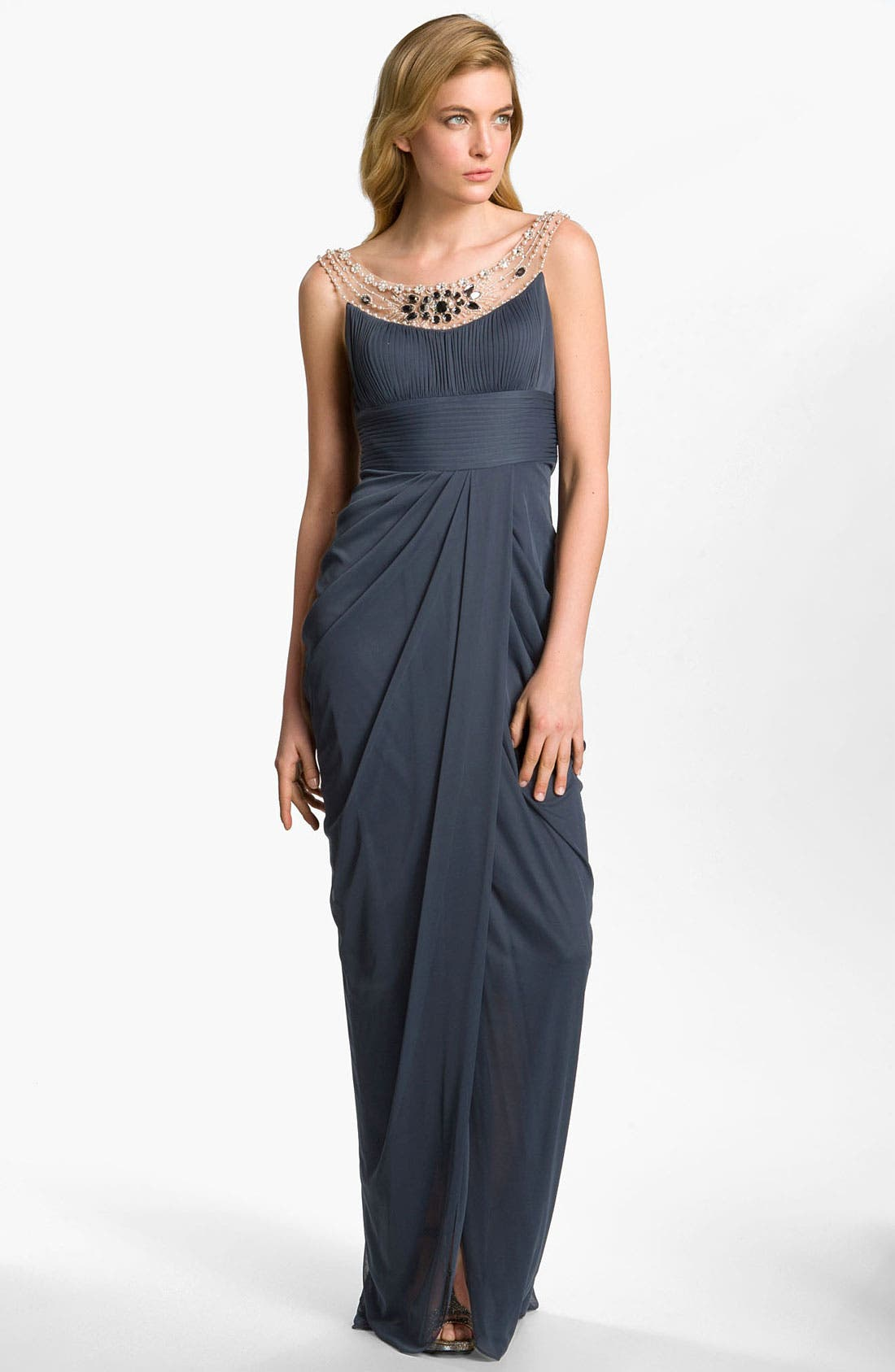 Alternate Image 1 Selected - Adrianna Papell Embellished Draped Mesh Gown