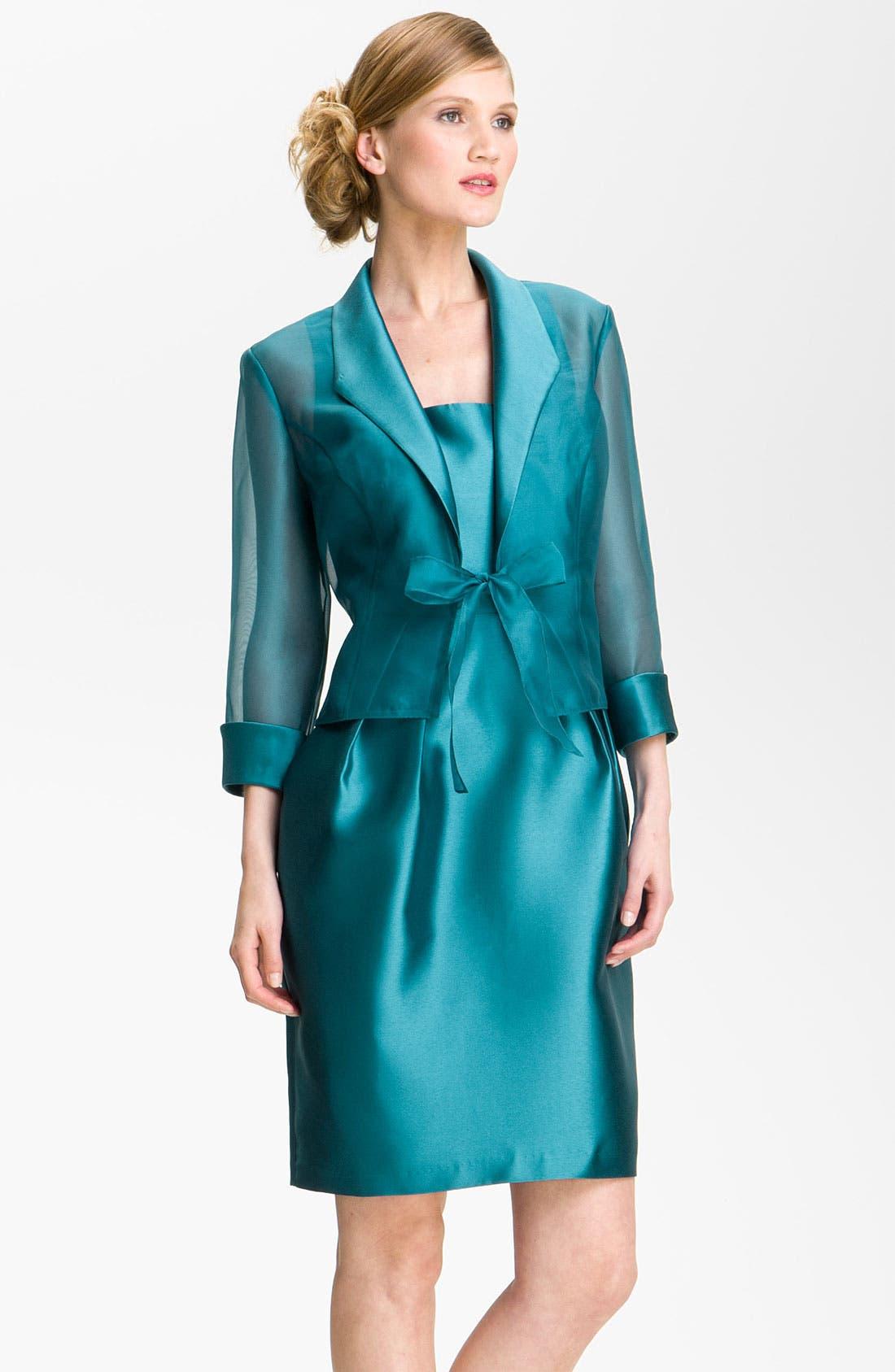 Alternate Image 1 Selected - Alex Evenings Square Neck Sheath Dress & Jacket