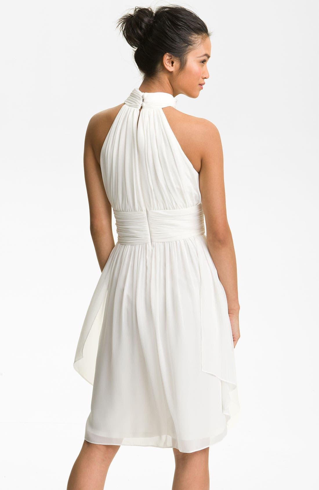 Alternate Image 2  - Maggy London Ruched Chiffon Halter Dress
