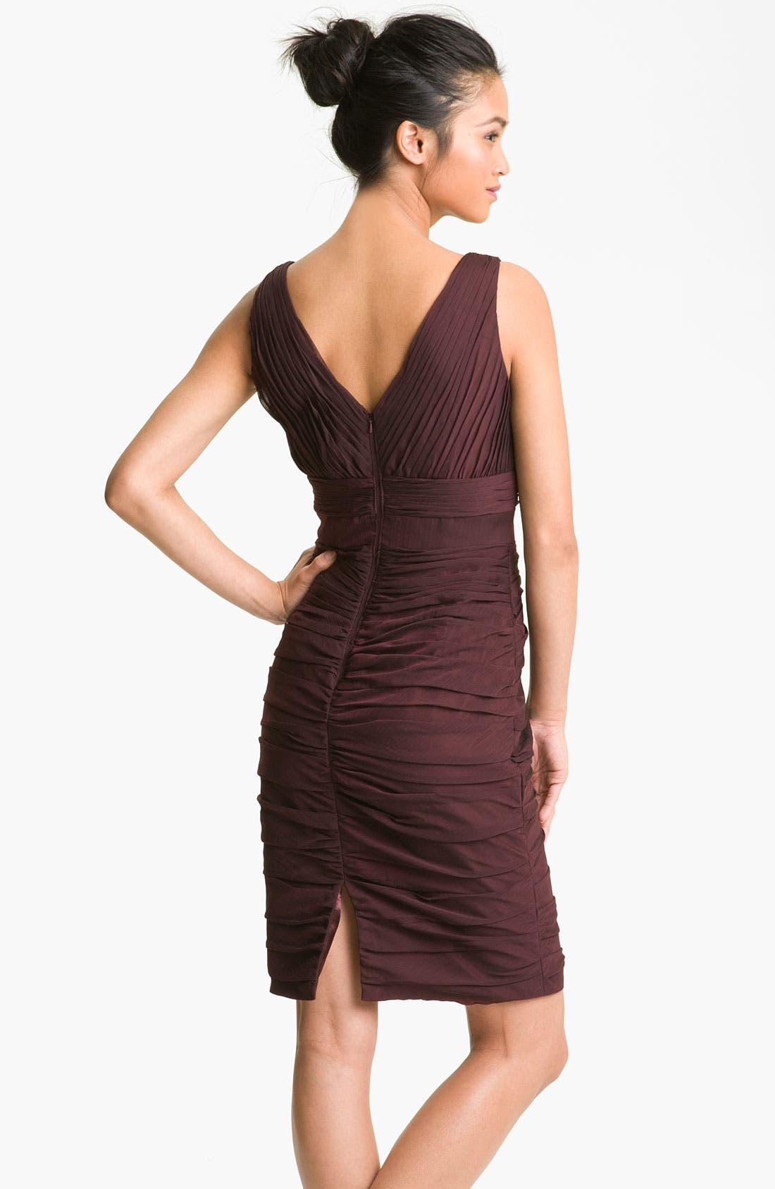 Alternate Image 2  - ML Monique Lhuillier Bridesmaids V-Neck Ruched Chiffon Sheath Dress (Nordstrom Exclusive)