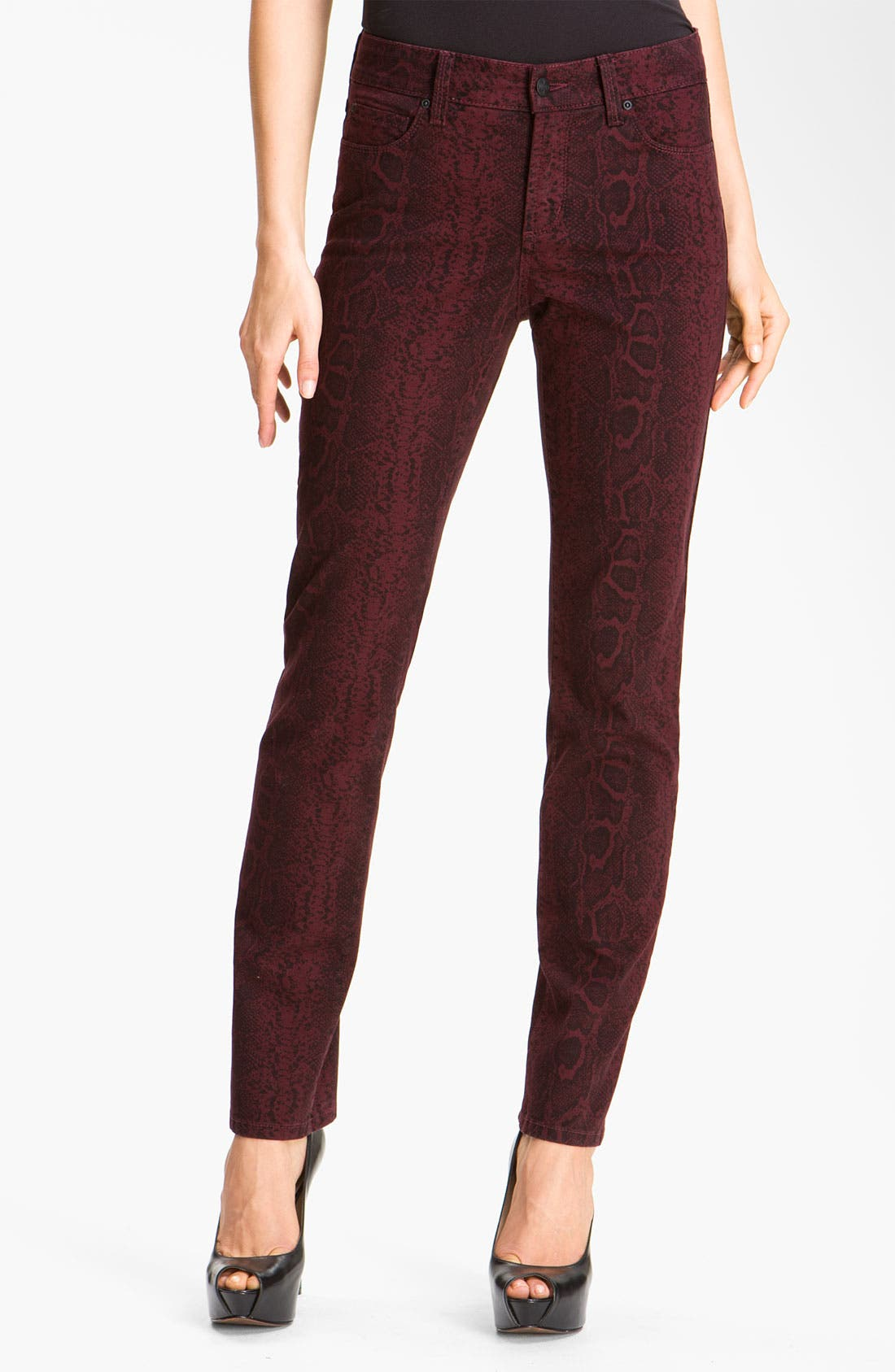 Main Image - NYDJ 'Sheri' Python Print Skinny Twill Jeans