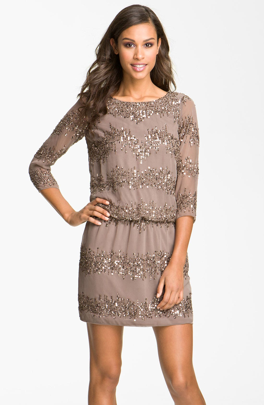 Main Image - Adrianna Papell Embellished Scoop Back Blouson Dress