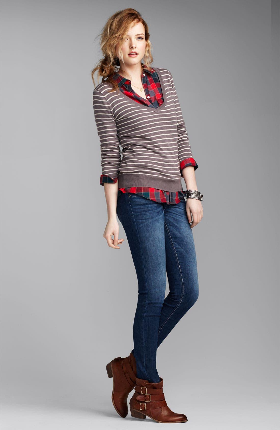 Alternate Image 4  - Jolt 'J' Pocket Skinny Jeans (Juniors)