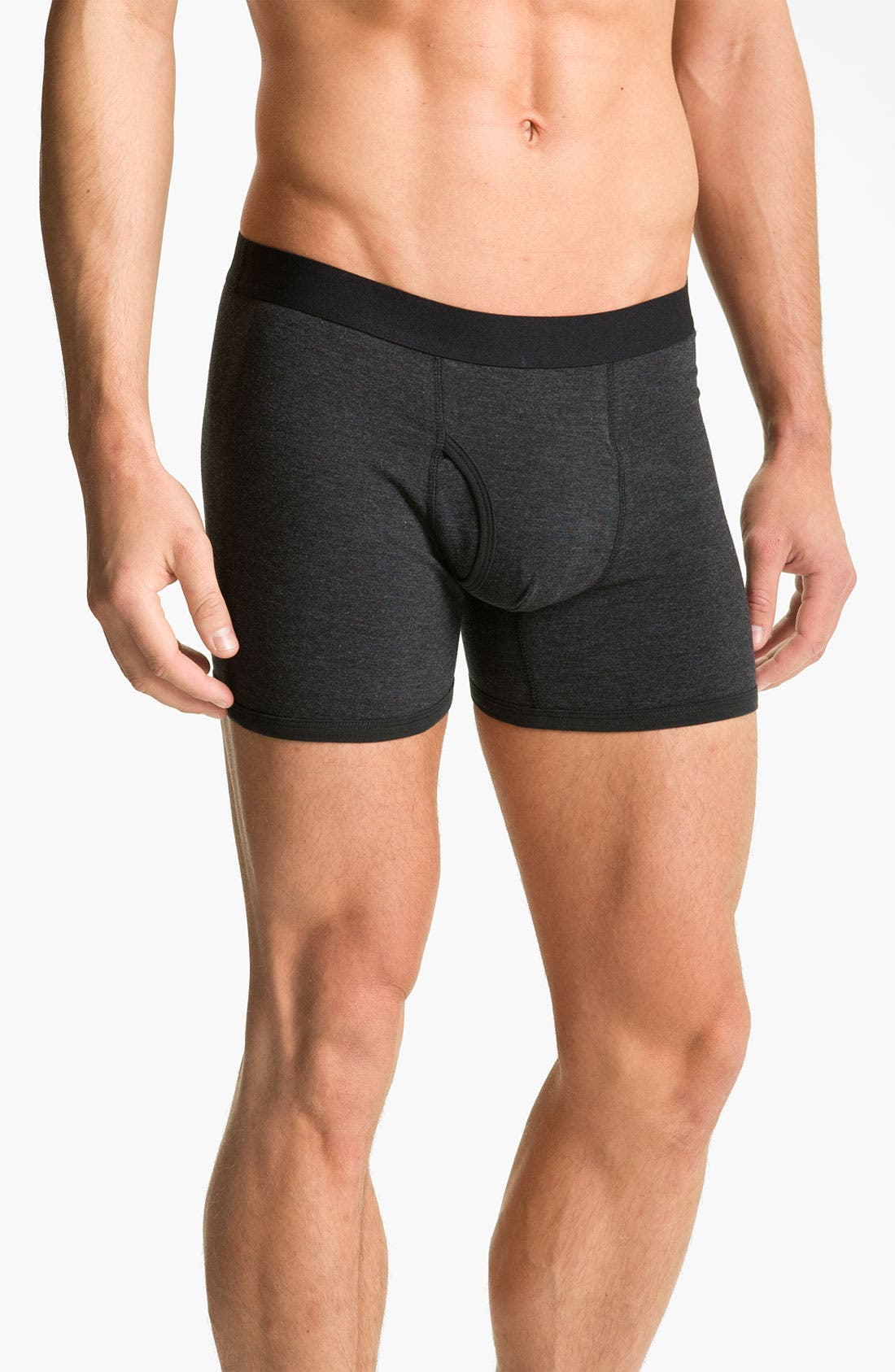 Main Image - Basic Underwear Solid Boxer Briefs (3-Pack)