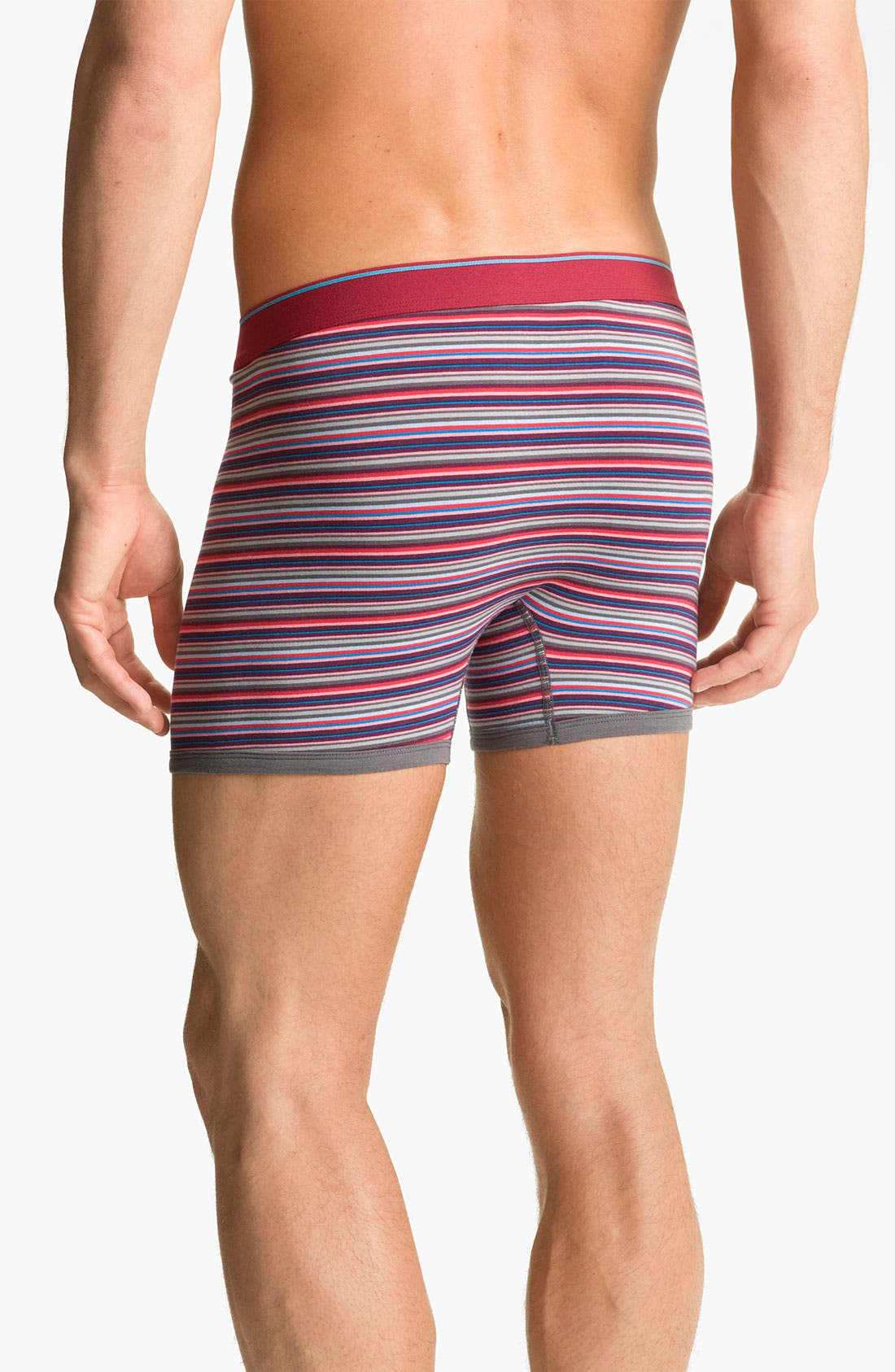 Alternate Image 2  - Basic Underwear Novelty Stripe Boxer Briefs (3-Pack)